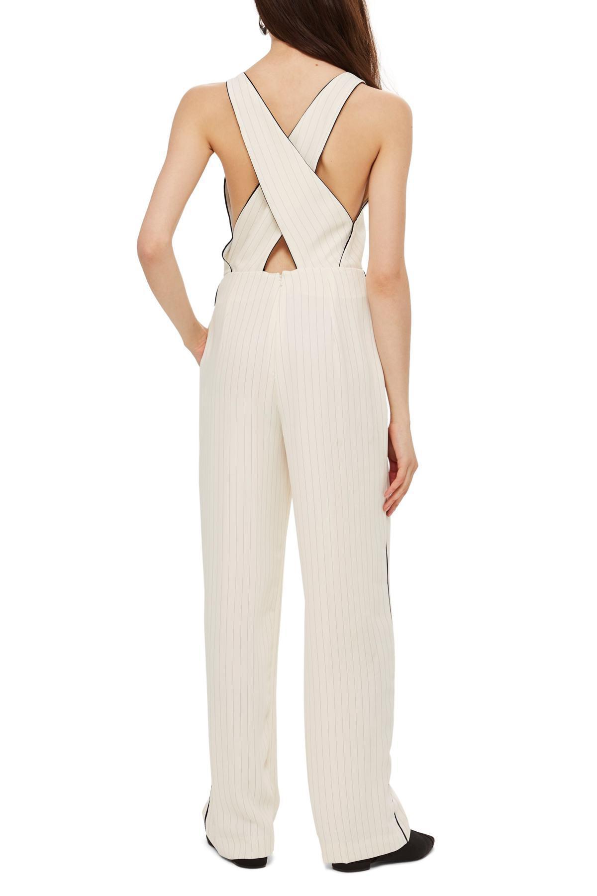 d27e138dab4 TOPSHOP - White Pinstripe Jumpsuit - Lyst. View fullscreen
