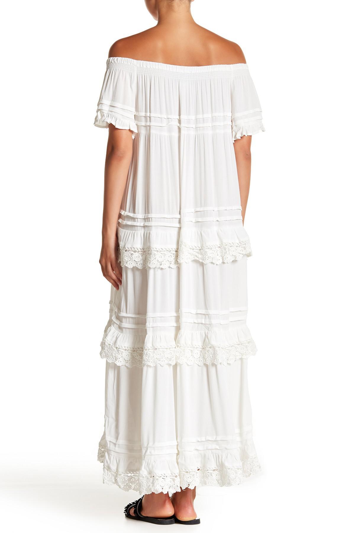 812cf14465a Lyst - Muche Et Muchette Lace Trim Off-the-shoulder Maxi Dress in White
