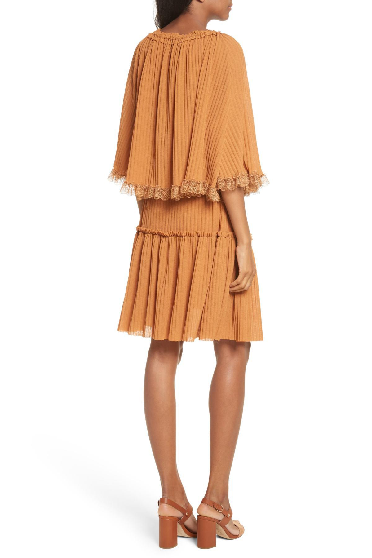 ddec06894a Lyst - See By Chloé See By Chlo  Pleated Popover Dress in Brown