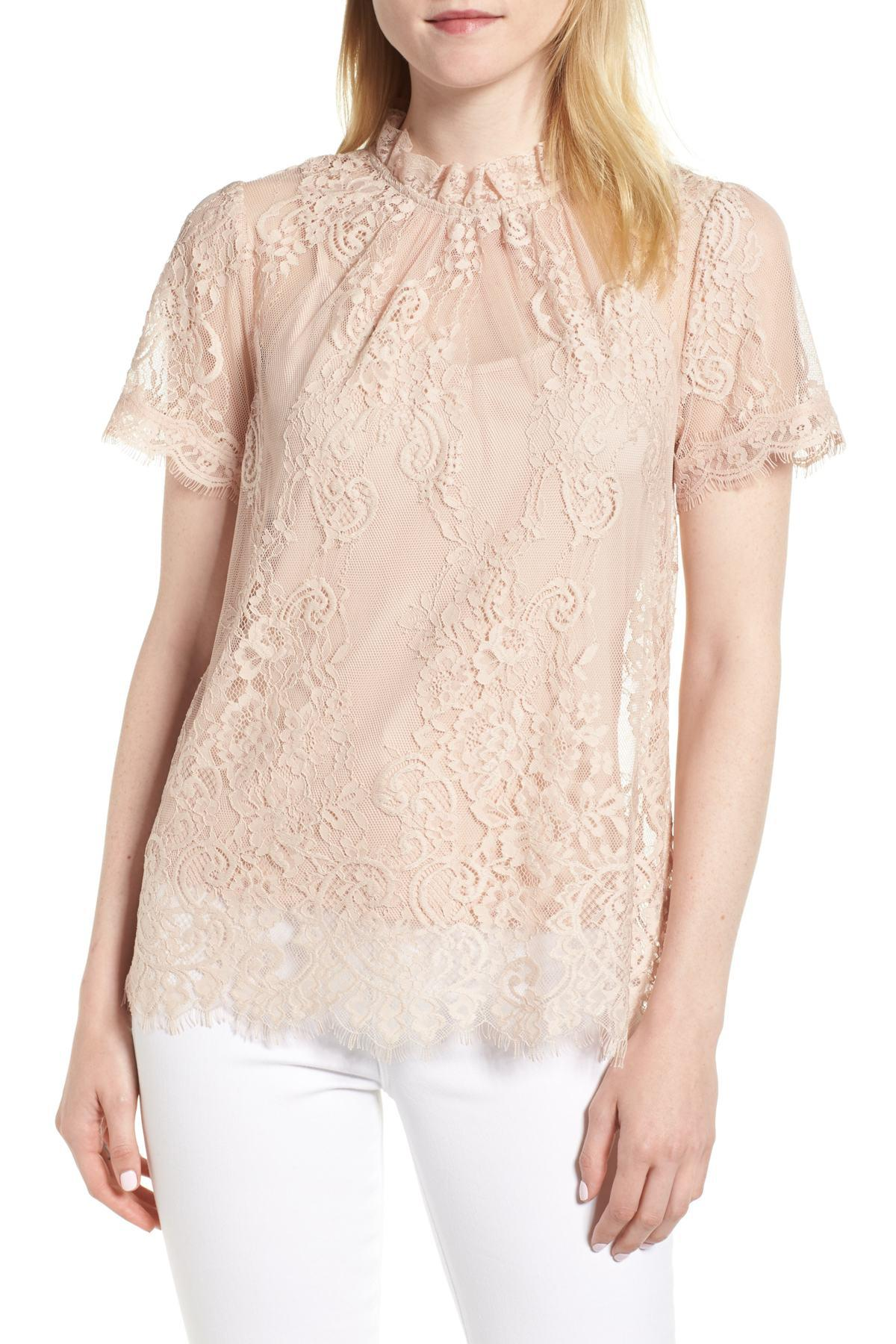 2195e284fb4826 Chelsea28 - Pink Lace Ruffle Collar Blouse - Lyst. View fullscreen