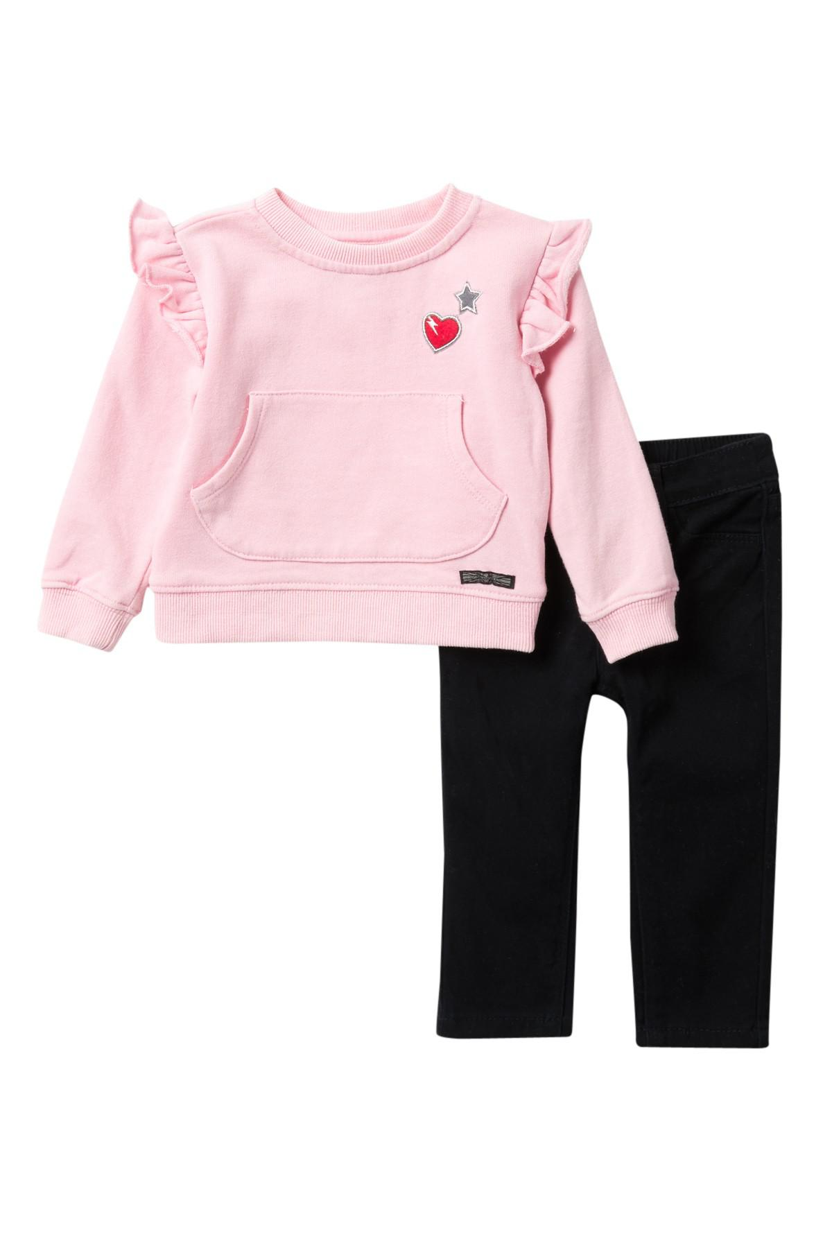 5e1bfcd81c57 Lyst - Hudson Jeans French Terry Sweater   Jeans (baby Girls) in Black
