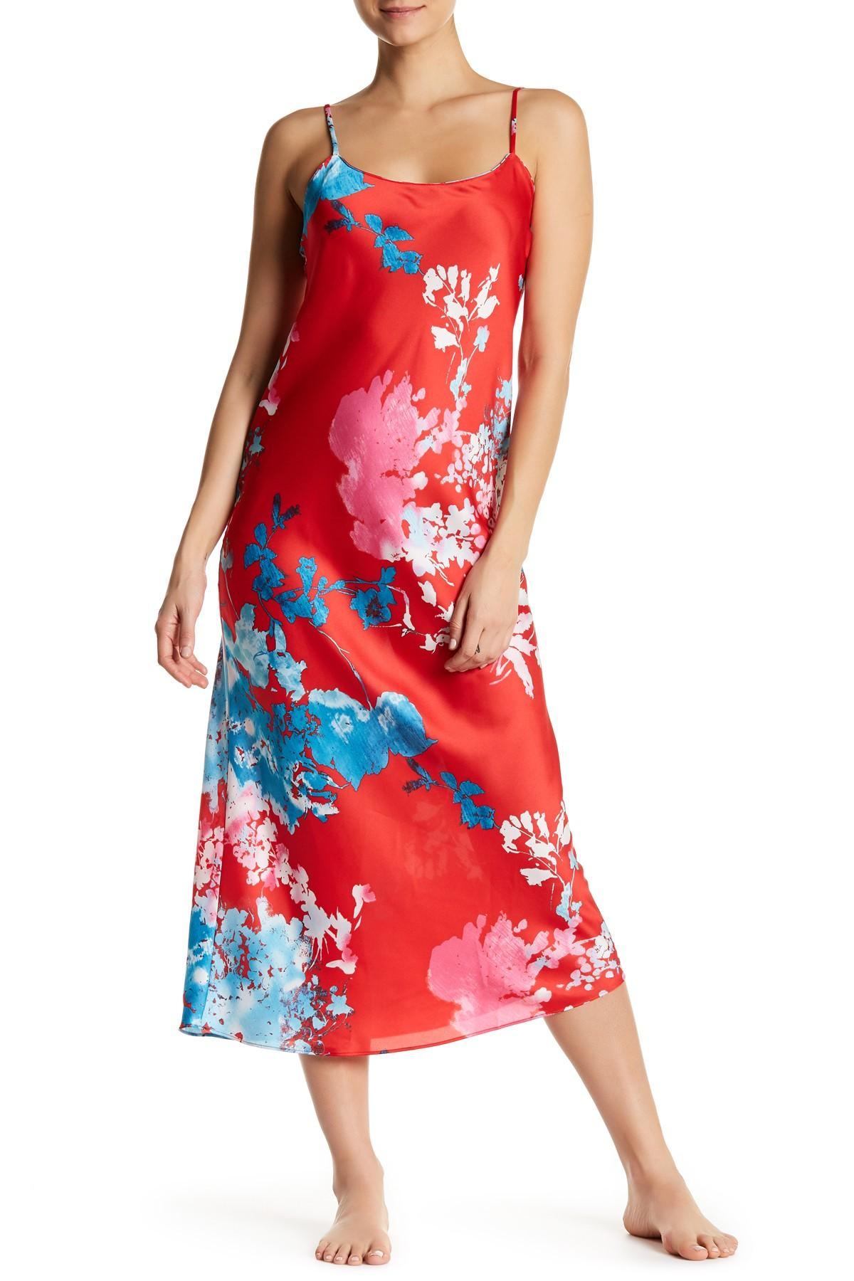 Lyst Natori Chianti Floral Satin Nightgown in Red