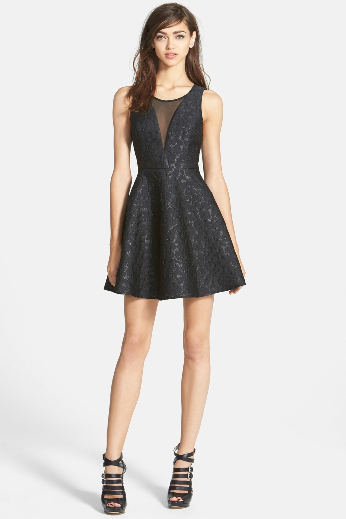Astr Jacquard Fit Amp Flare Dress Juniors In Black Save