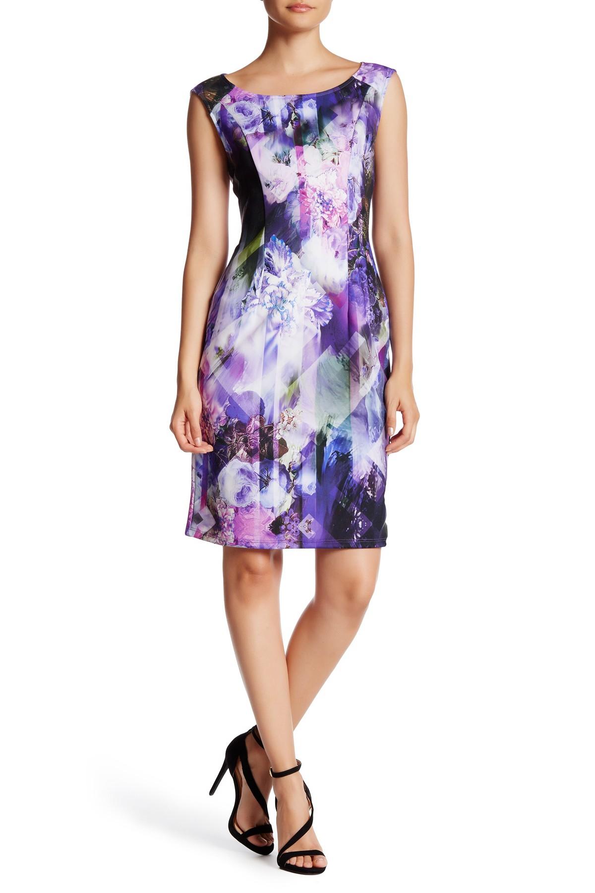 Lyst - Adrianna Papell Sleeveless Scuba Print Sheath Dress in Purple