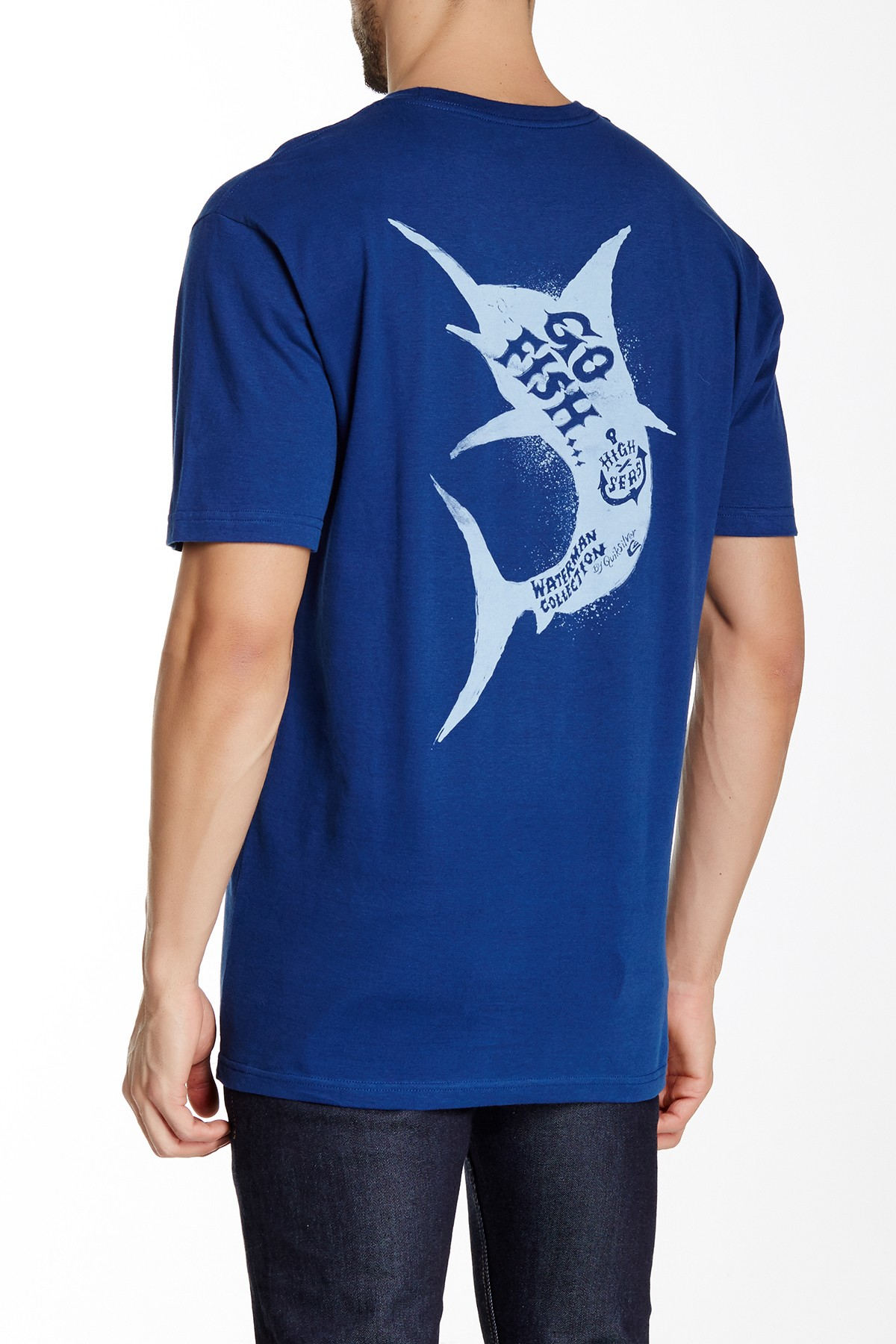 Lyst quiksilver go fish tee in blue for men for Go fish clothing