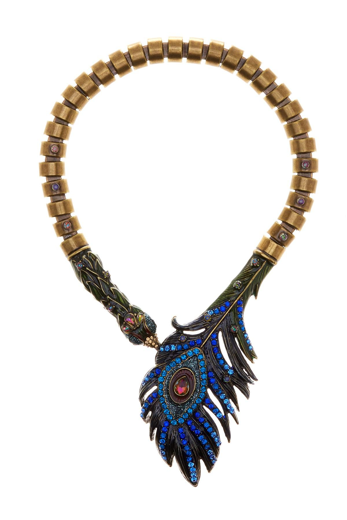 Betsey Johnson Rhinestone Peacock Statement Necklace In