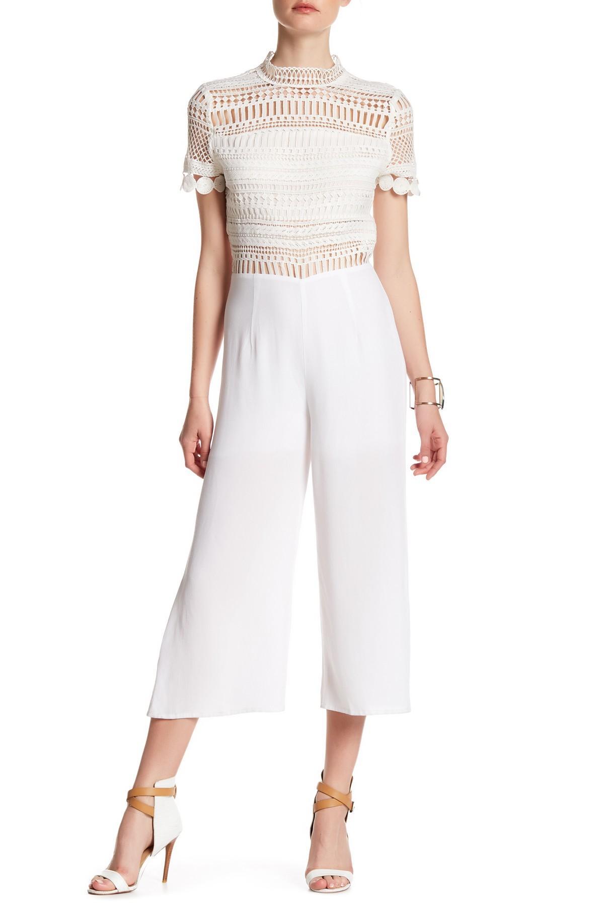 de291d320c7 Lyst - Blu Pepper Crochet Lace Jumpsuit in White
