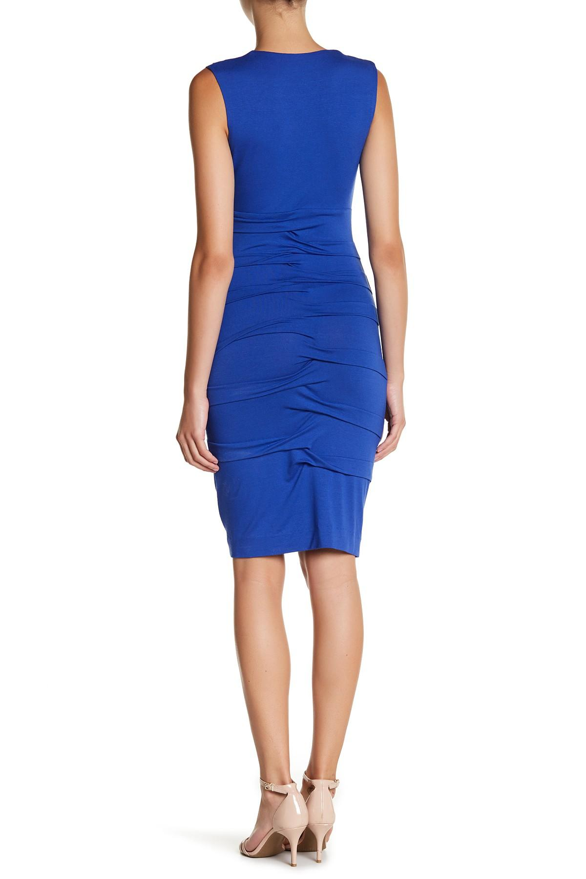 Lyst nicole miller sleeveless jersey sheath dress in blue for Nicole miller wedding dresses nordstrom
