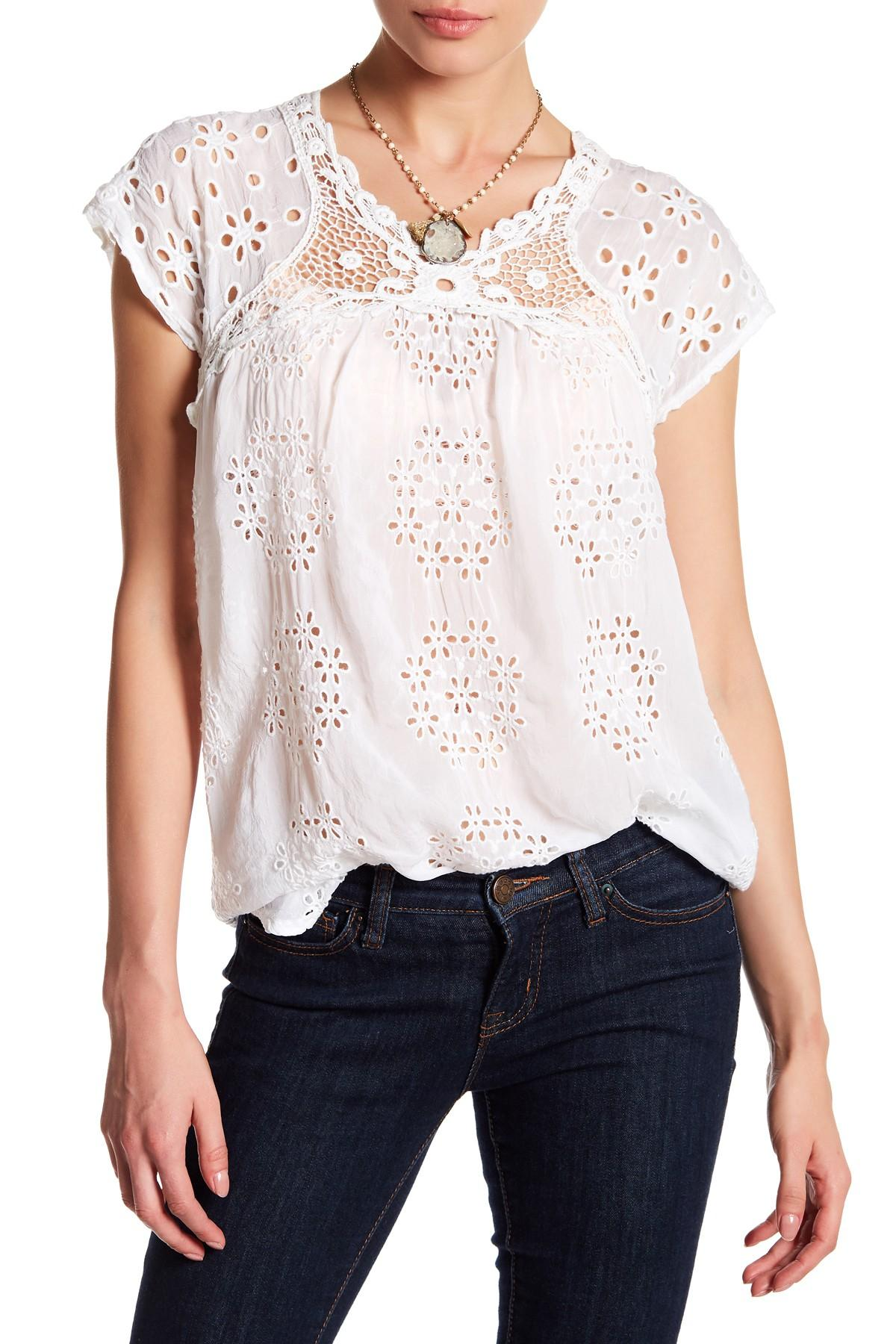 Lyst - Johnny Was Short Sleeve Embroidered Blouse in White