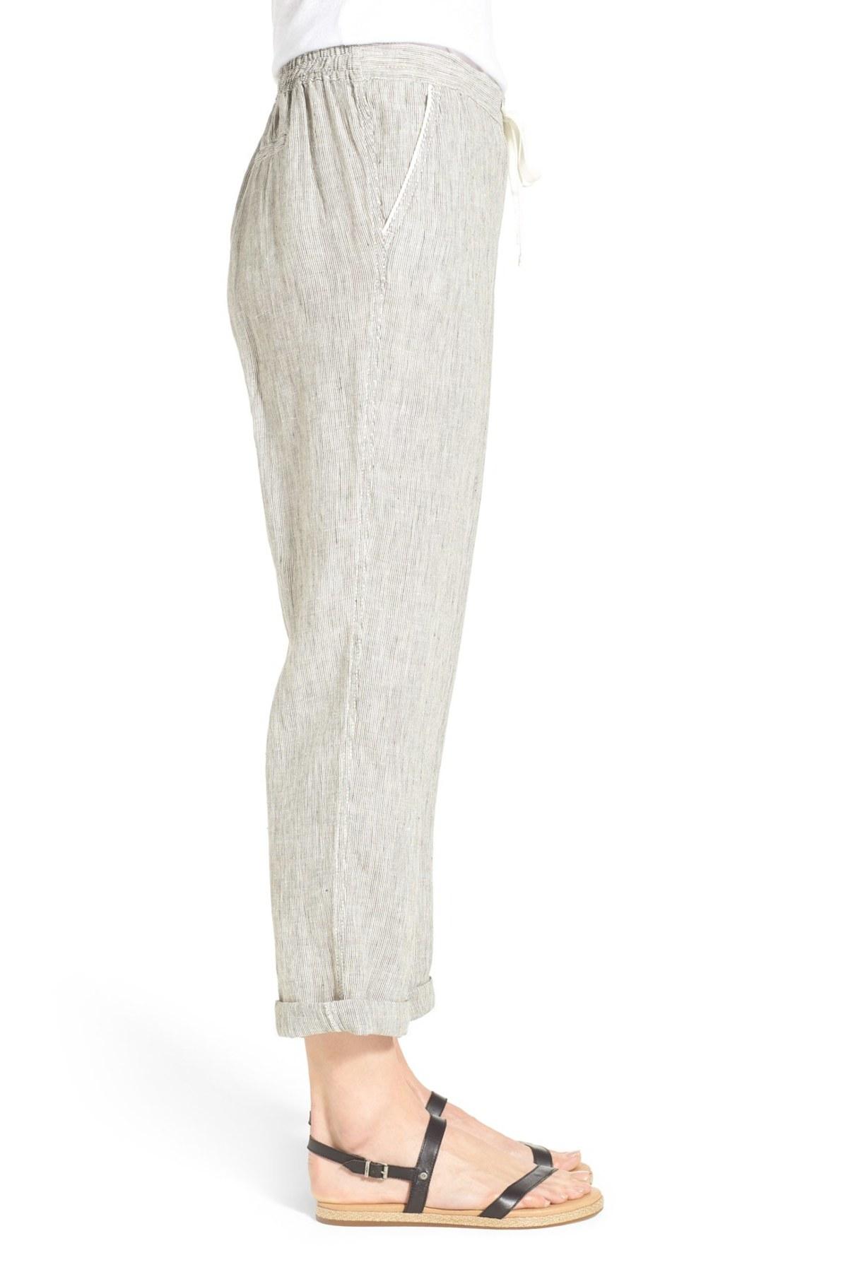 Lyst Caslon Linen Tie Front Crop Pants