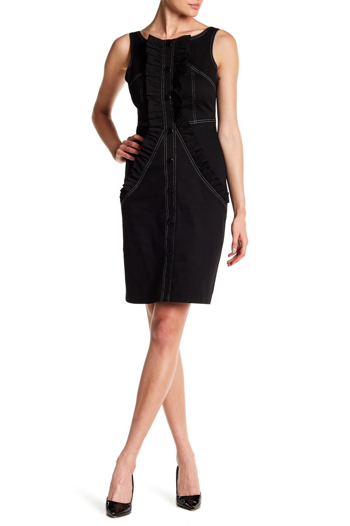 Lyst Eva Franco Tupelo Front Button Dress In Black