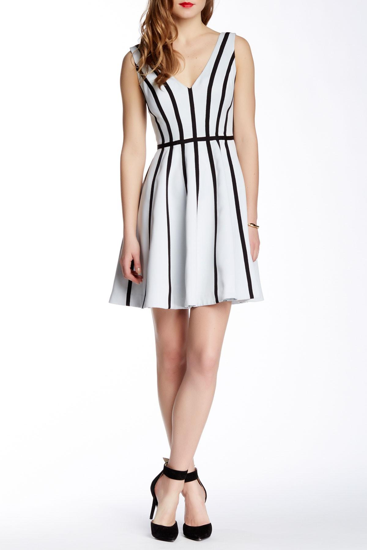 Lyst Halston Striped Fit Amp Flare Cocktail Dress In Black