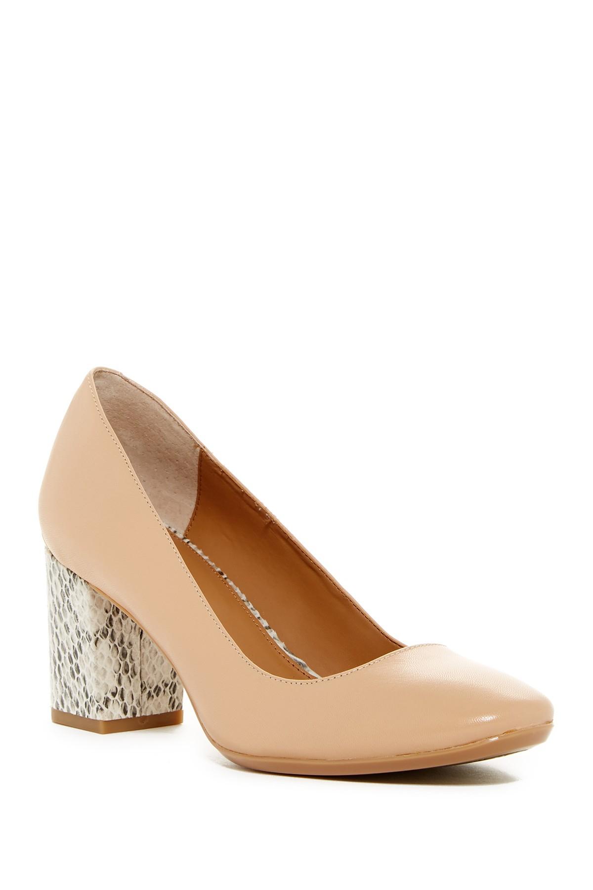 21715faae4 Lyst - Calvin Klein Cirilla Block Heel Pump in Brown