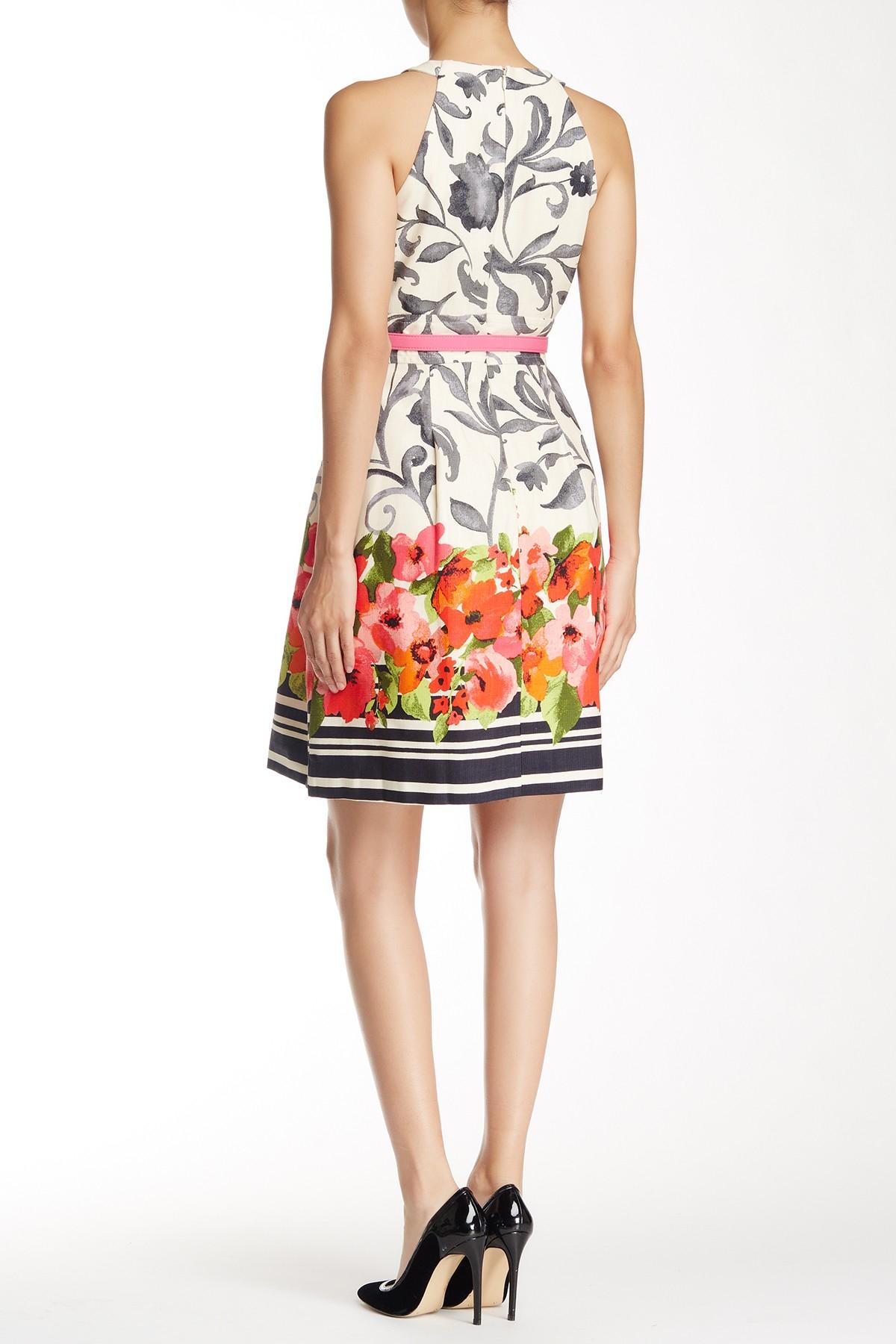 Eliza J Border Print Fit Amp Flare Dress Lyst