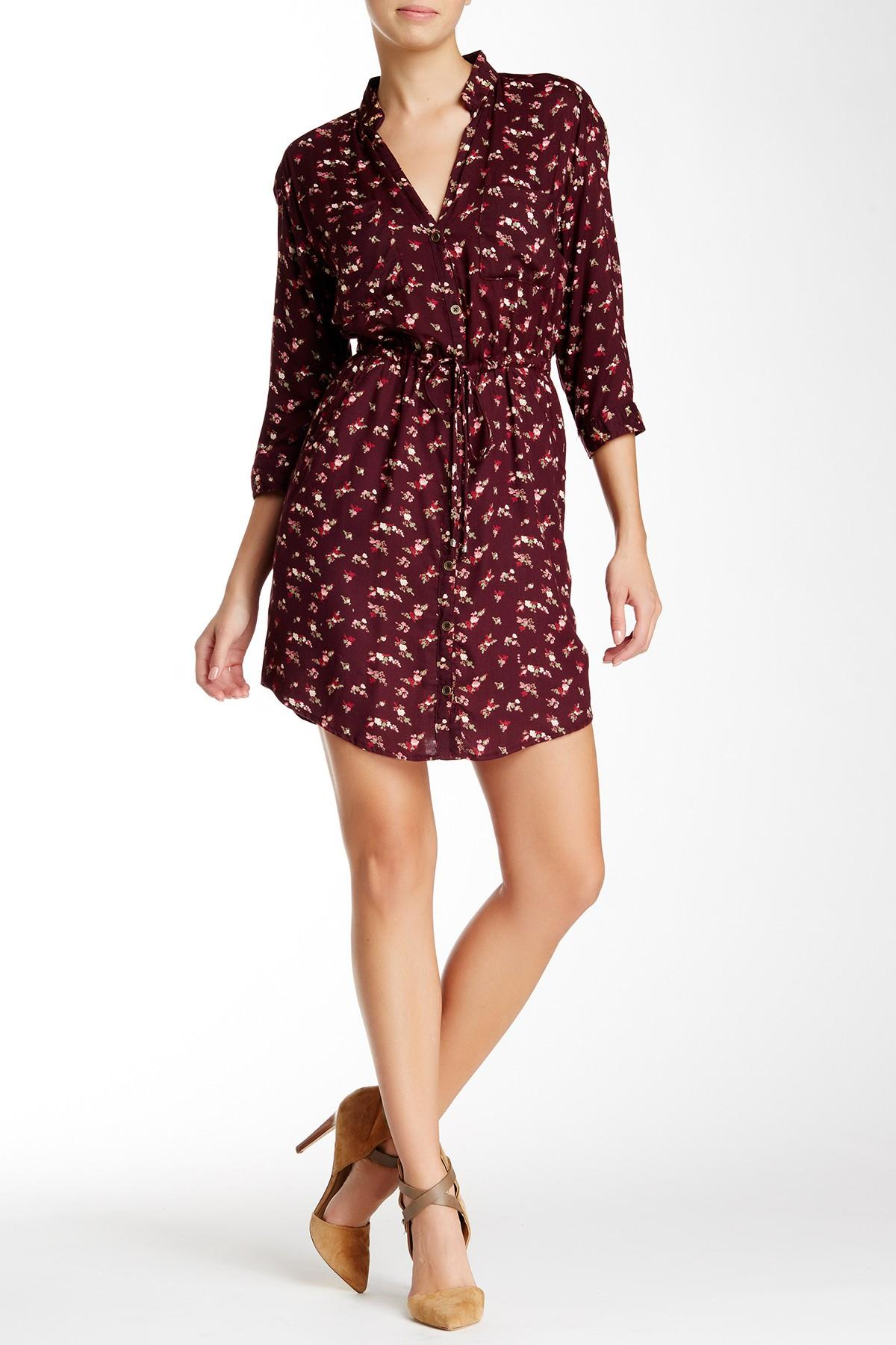 Lyst angie patterned shirt dress in purple for Nordstrom rack dresses pour mariage