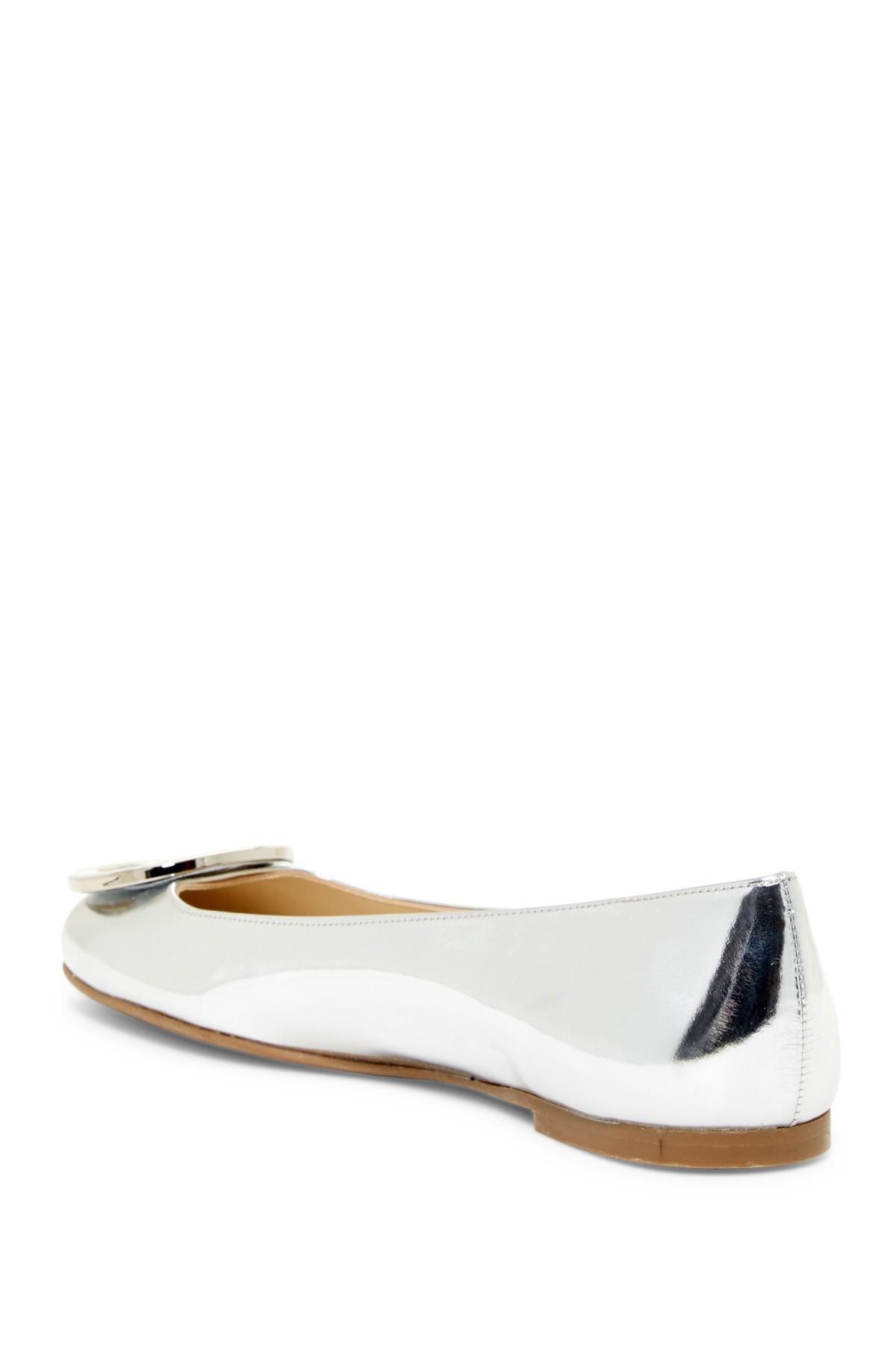 Lyst Frances Valentine Frances Round Toe Flat In Metallic