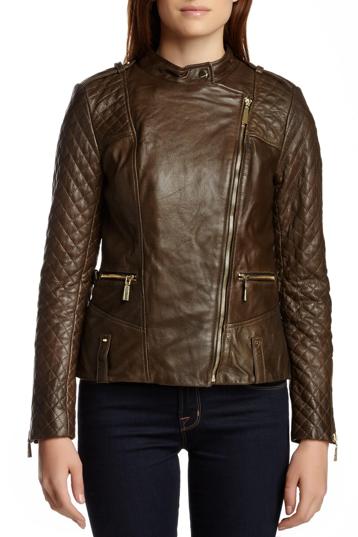 Lyst Vince Camuto Quilted Moto Genuine Leather Jacket In