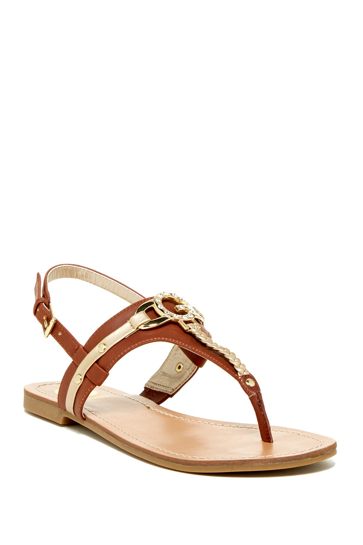ff42a44173b4 Lyst - G by Guess Leed Sandal in Brown