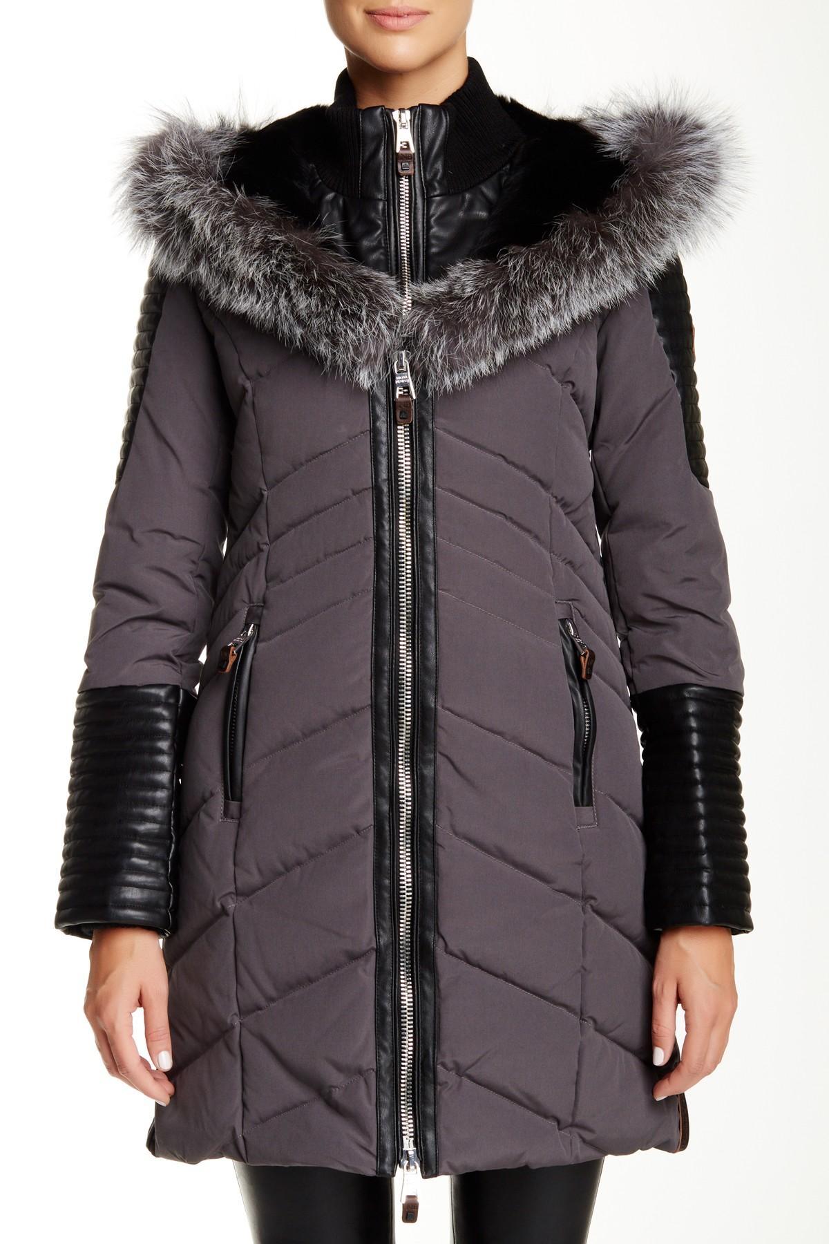 Lyst Nicole Benisti Genuine Fox Fur Trim Double Zip Down