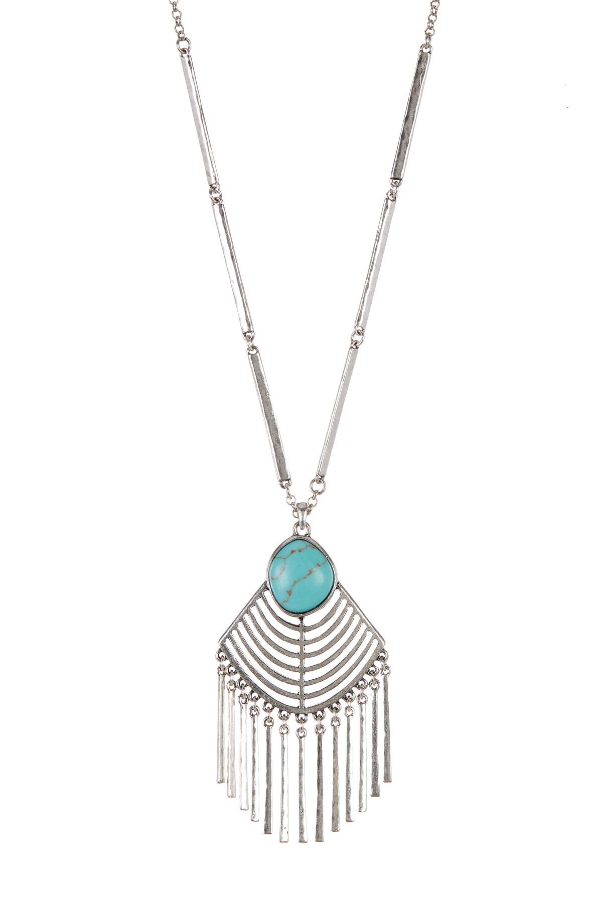 Lyst Lucky Brand Faux Turquoise Fringe Pendant Necklace