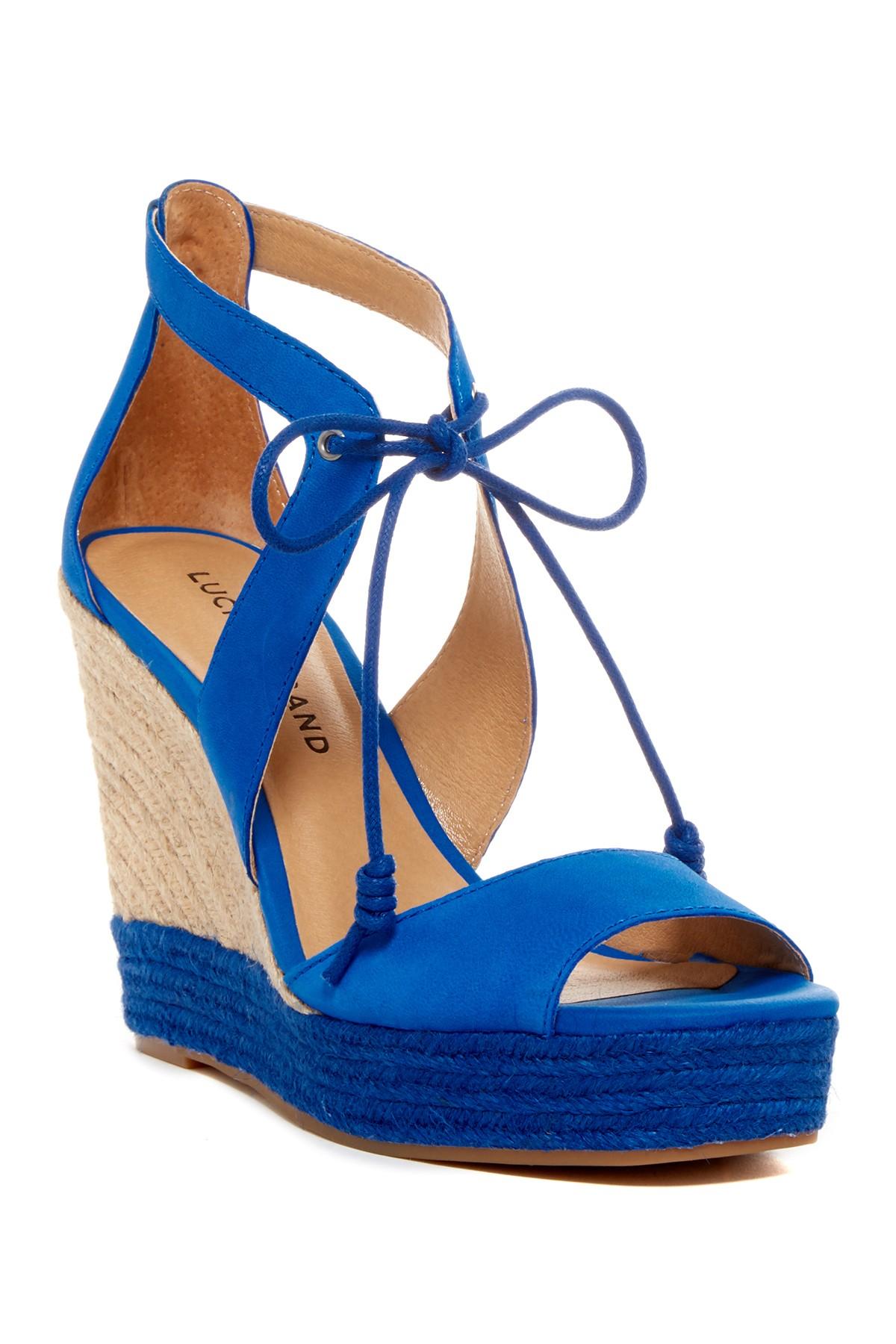 Lyst Lucky Brand Listalia Wedge Sandal In Blue