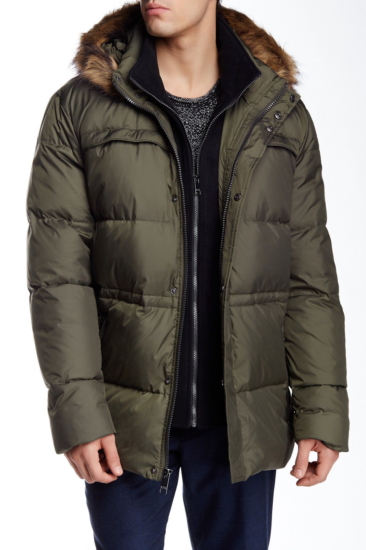 Marc New York Tundra Faux Fur Hooded Jacket In Green For