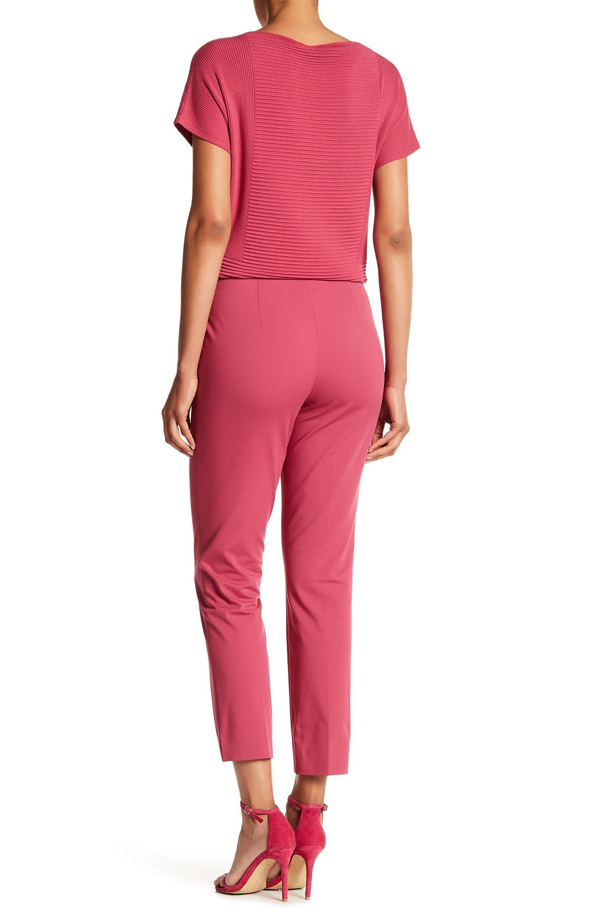 Lyst lafayette 148 new york stanton pant in pink for Nordstrom rack new york