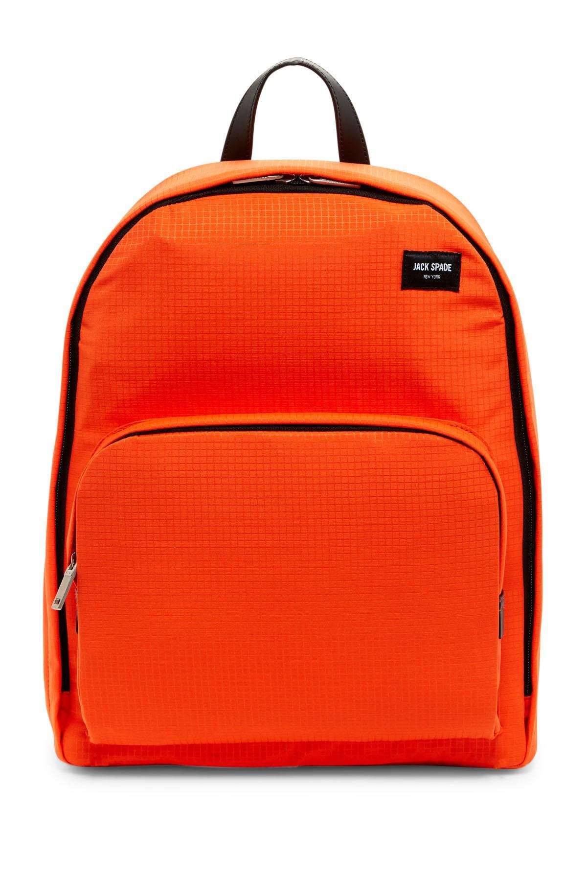 1b996876d Lyst - Jack Spade Checkered Leather Trim Backpack in Orange