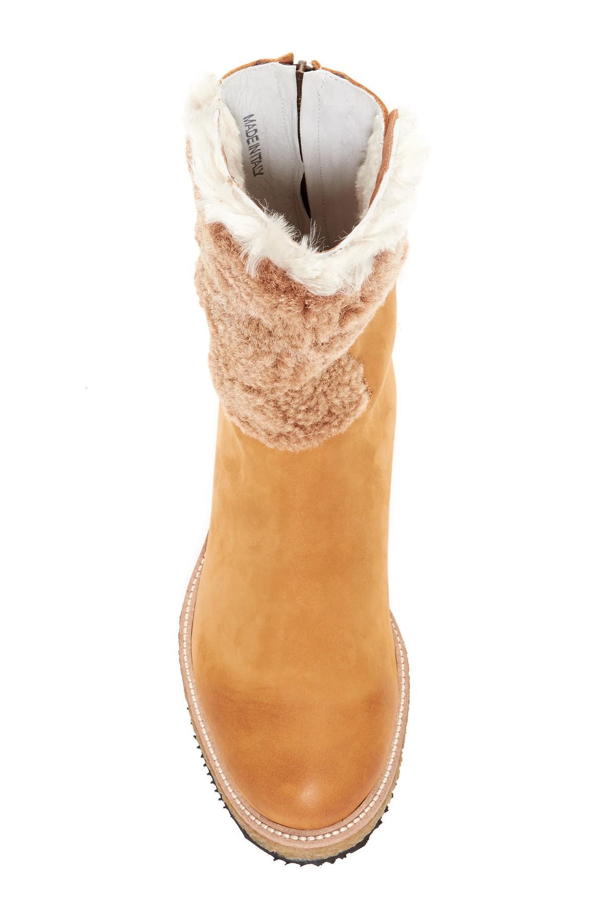 Lyst Free People Fillmore Genuine Sheep Fur Boot In Brown
