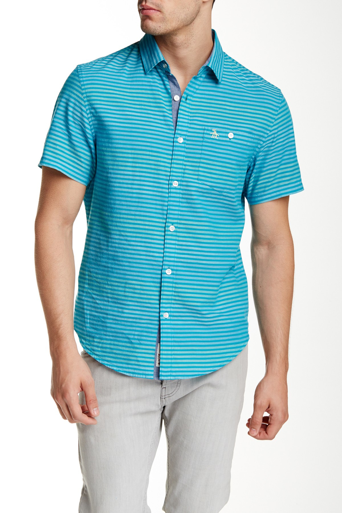Original penguin horizontal stripe short sleeve slim fit for Horizontal striped dress shirts men