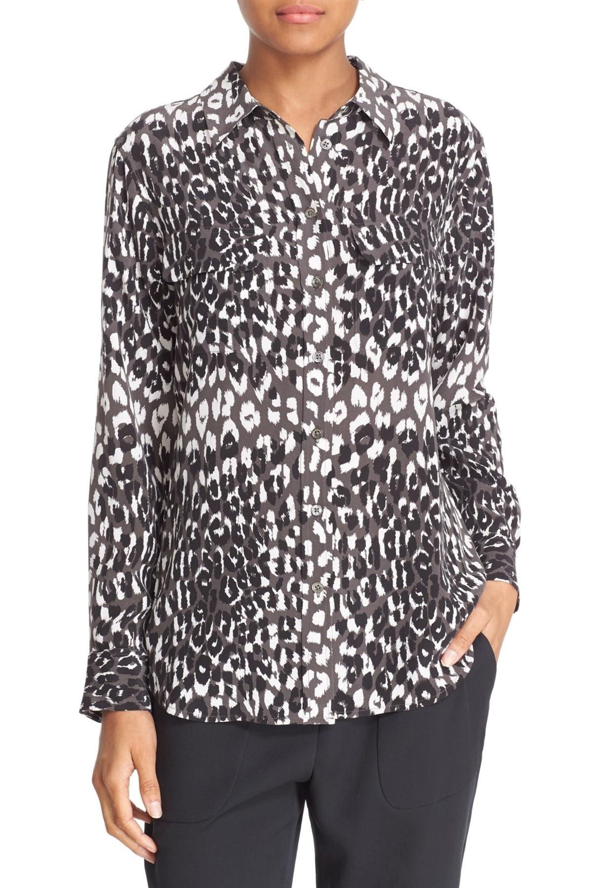 Lyst equipment slim signature cheetah print silk shirt for Equipment black silk shirt