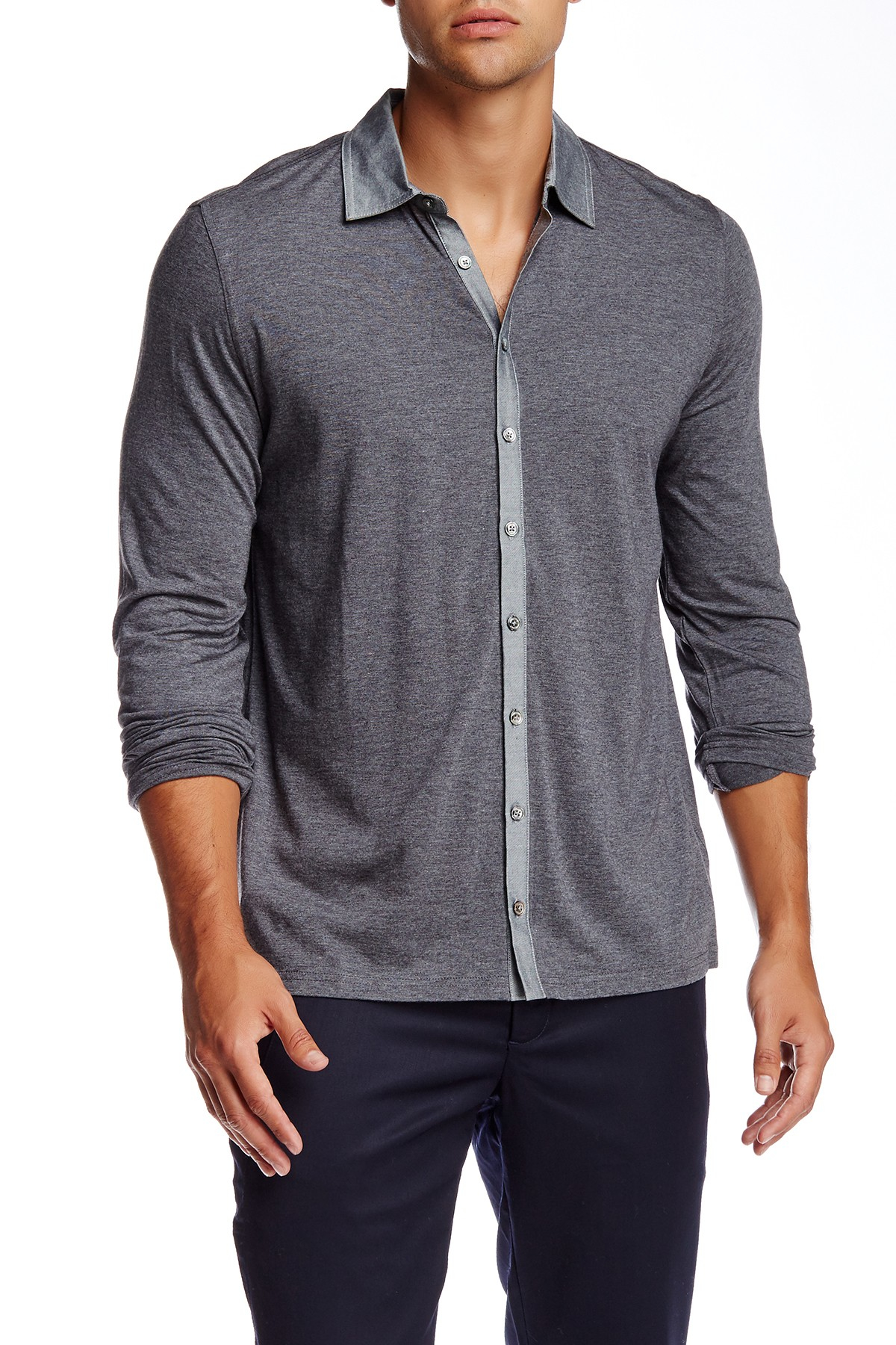 Lyst quinn roy spread collar shirt in gray for men for Mens wide collar dress shirts