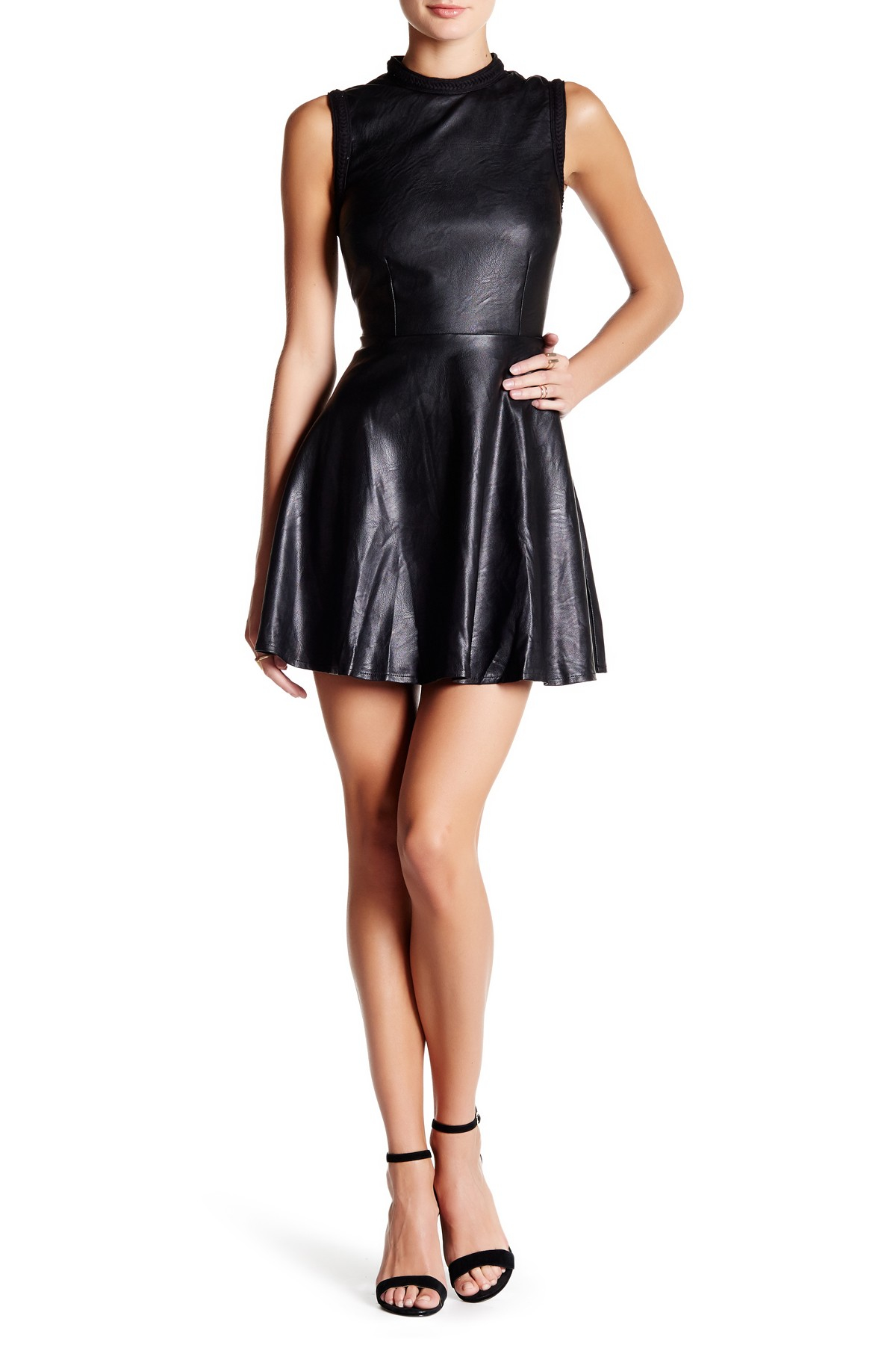 Lyst Honey Punch Faux Leather Fit Amp Flare Dress In Black