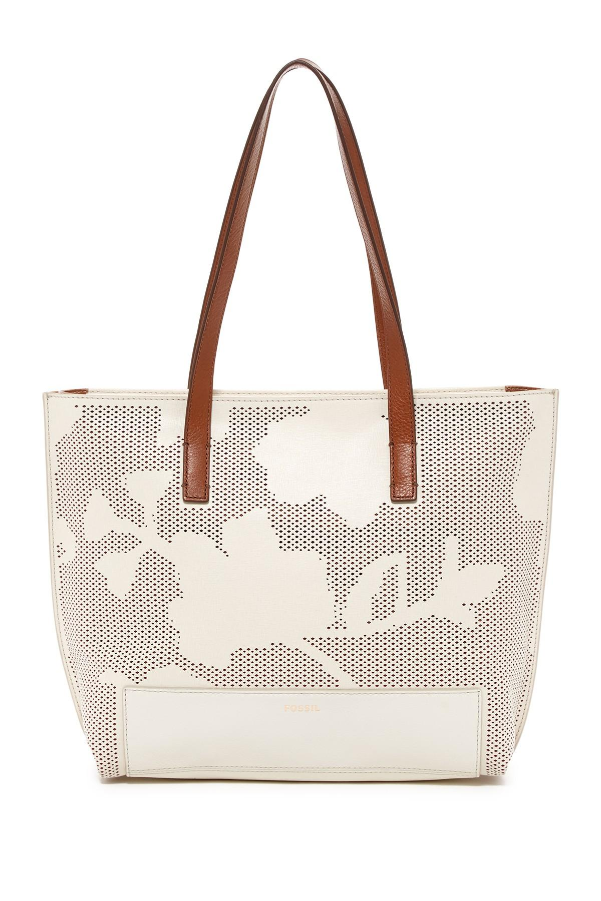 Lyst Fossil Madison Leather Trimmed Tote
