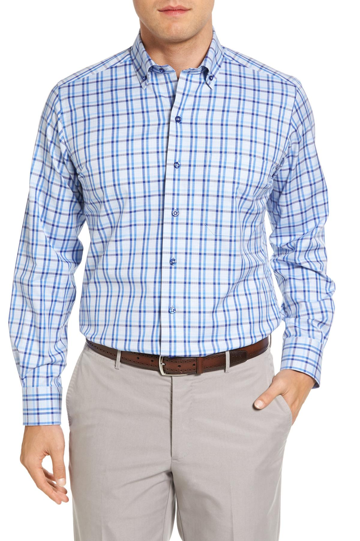 Lyst david donahue regular fit check sport shirt in blue for David donahue french cuff shirts