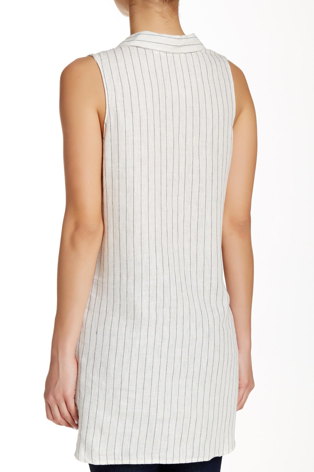 Lush Sleeveless Collared Shirt In White Lyst