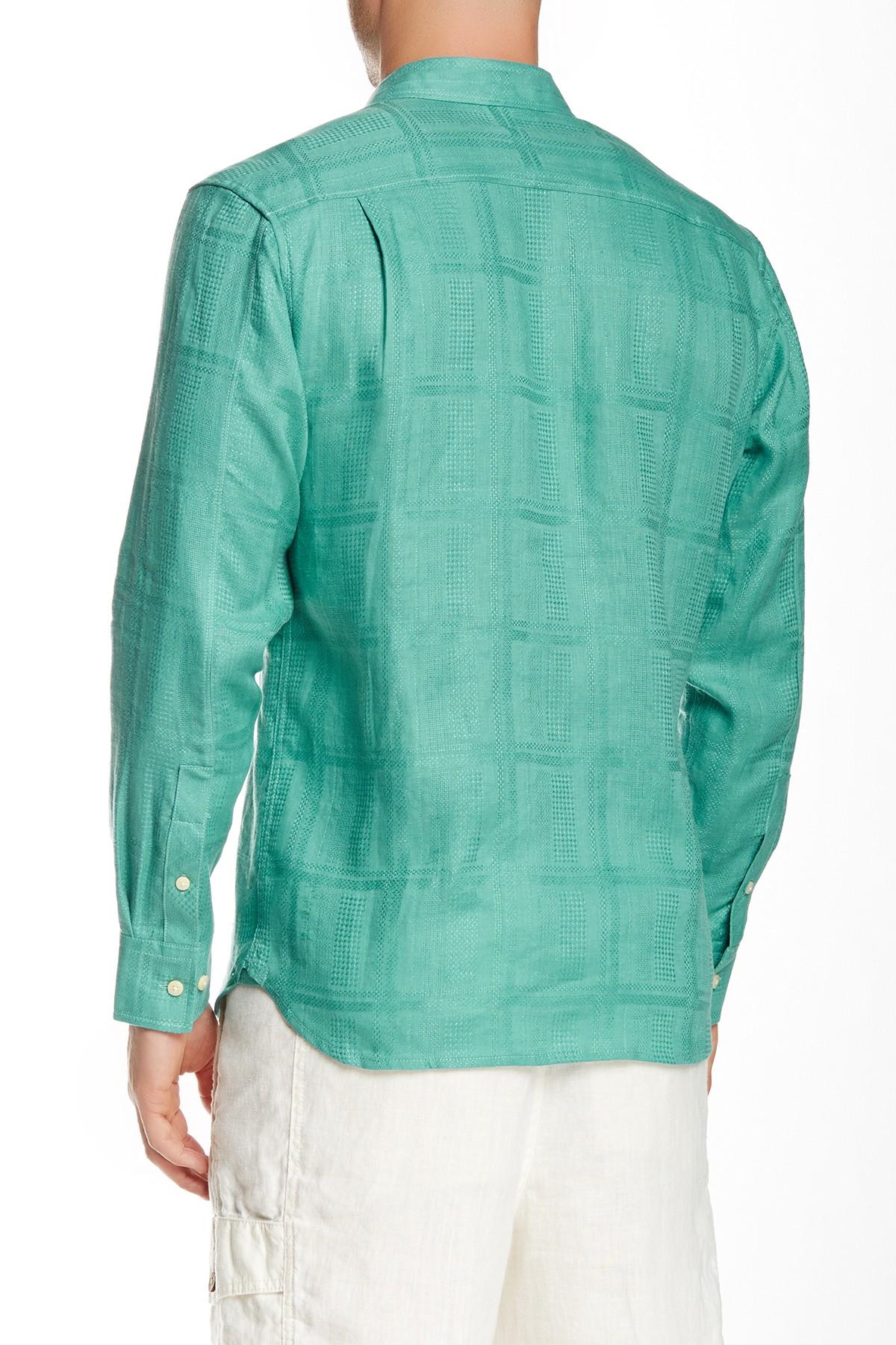 Lyst tommy bahama monte carlo linen long sleeve regular for Tommy bahama long sleeve dress shirts