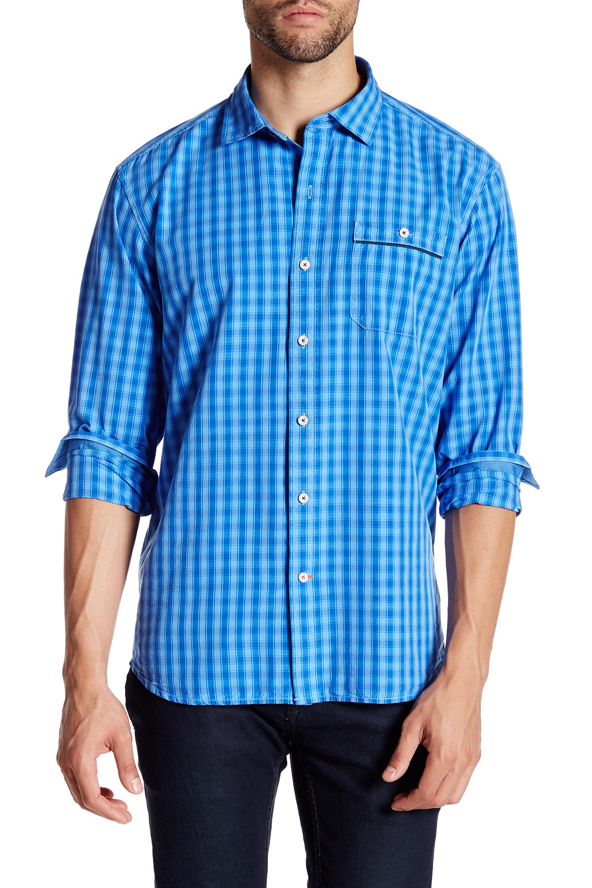 Lyst tommy bahama check norris long sleeve regular fit for Tommy bahama long sleeve dress shirts