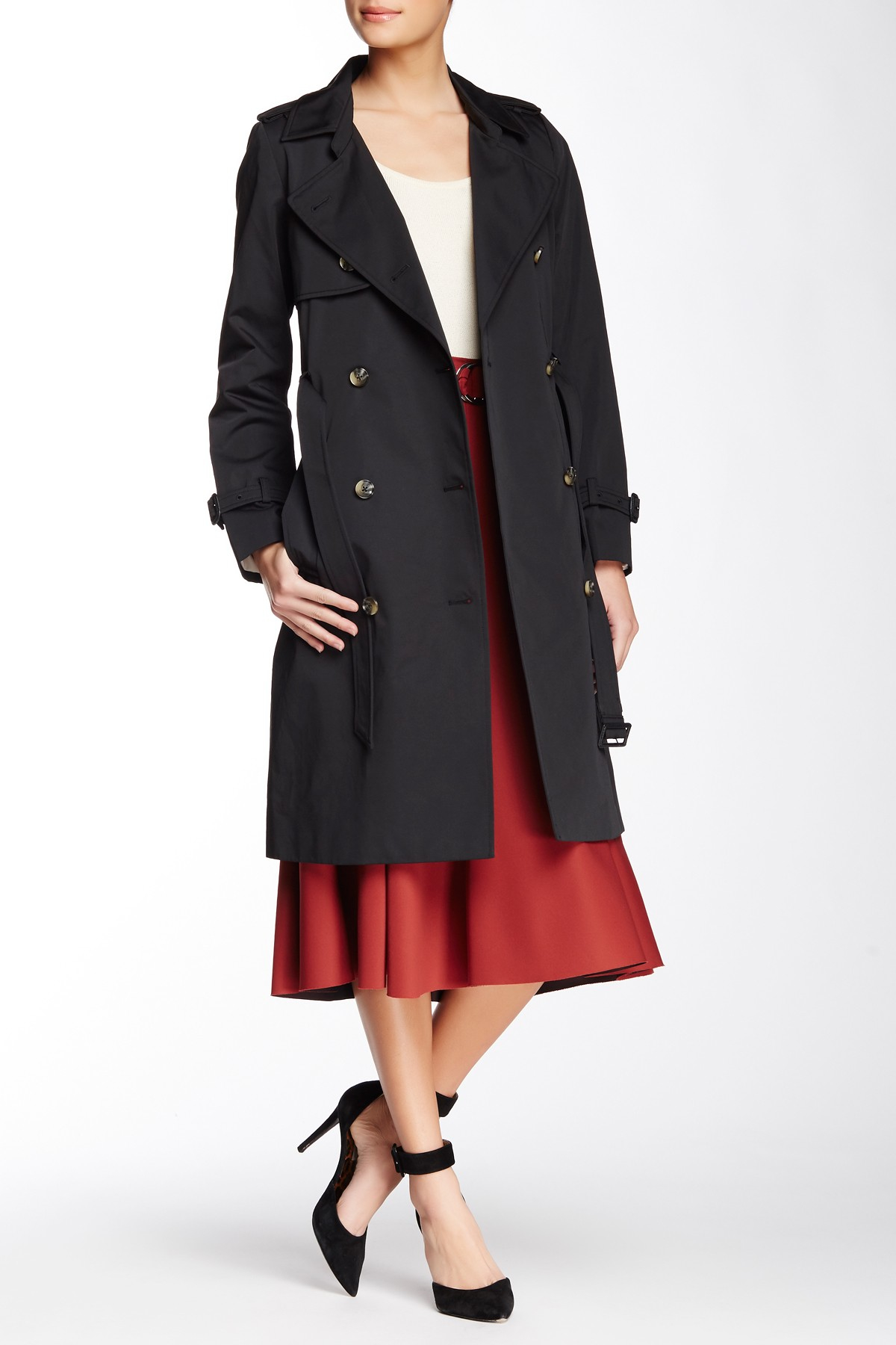 Lyst Soia Amp Kyo Terence Double Breasted Trench Coat In Black