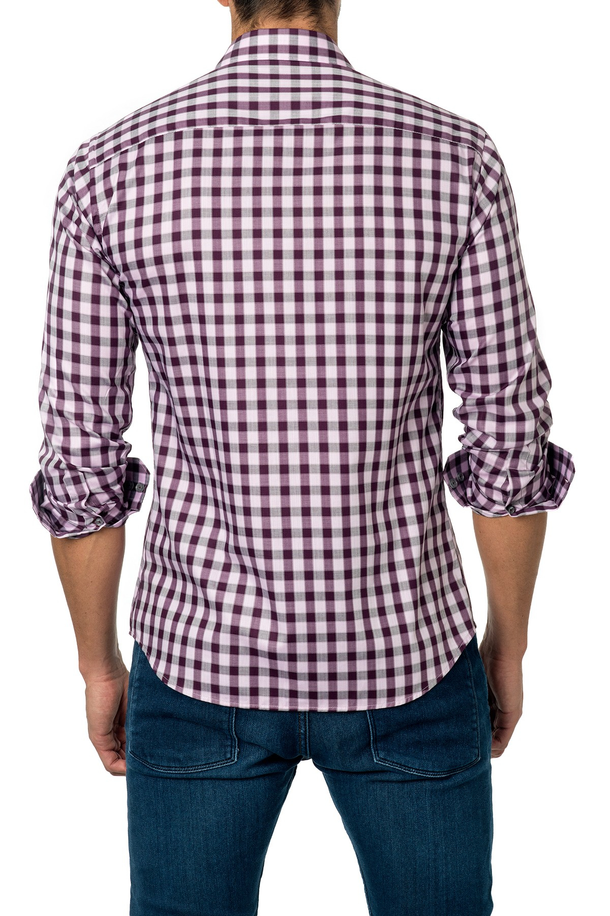 Jared lang long sleeve gingham semi fitted shirt in purple for Men s purple gingham shirt