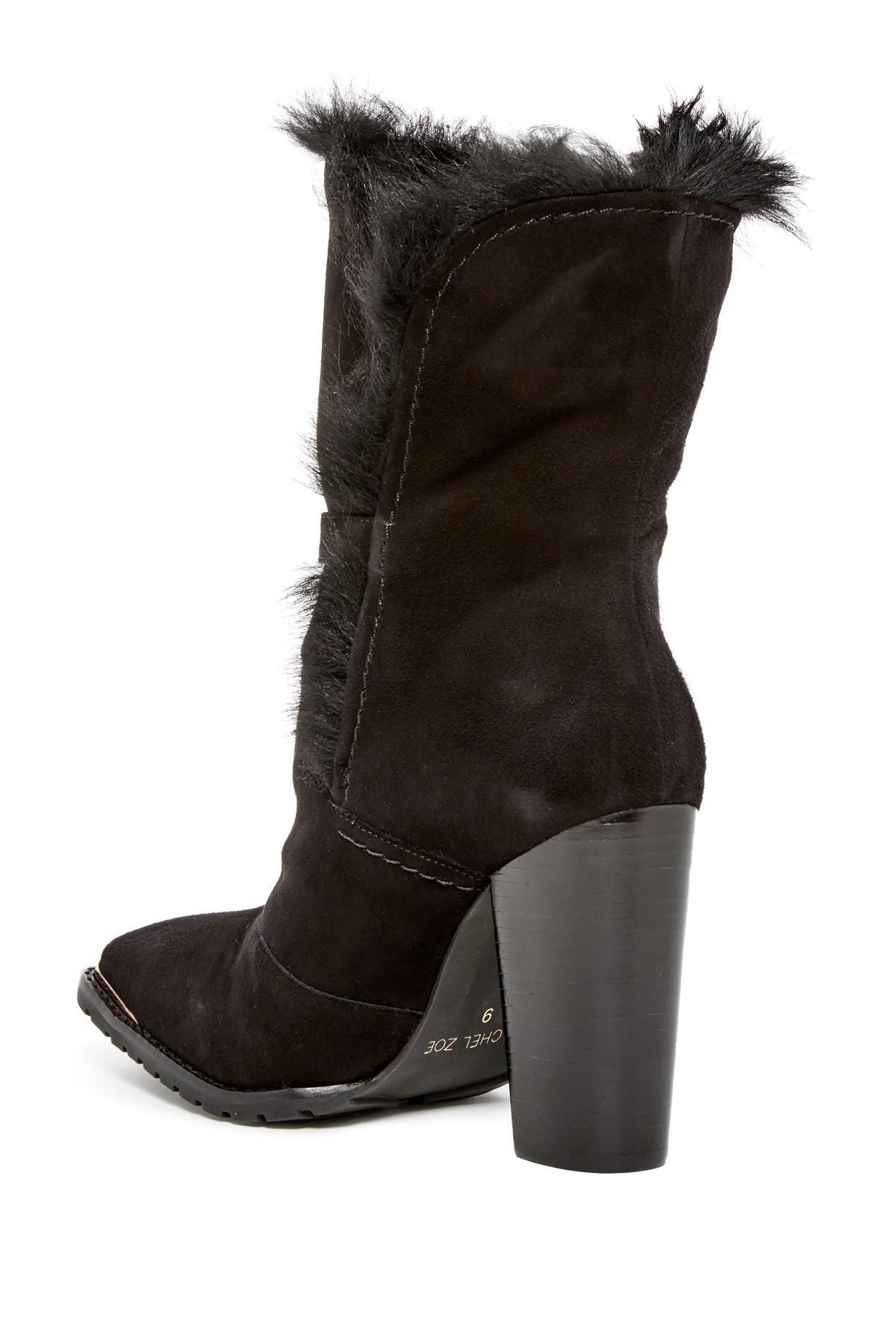 Lyst Rachel Zoe Bardot Genuine Sheep Fur Lined Boot In Black