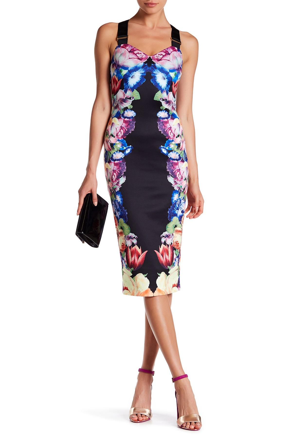 574ec63cb8a5d Lyst - Ted Baker Deony Tapestry Floral Buckle Dress in Black