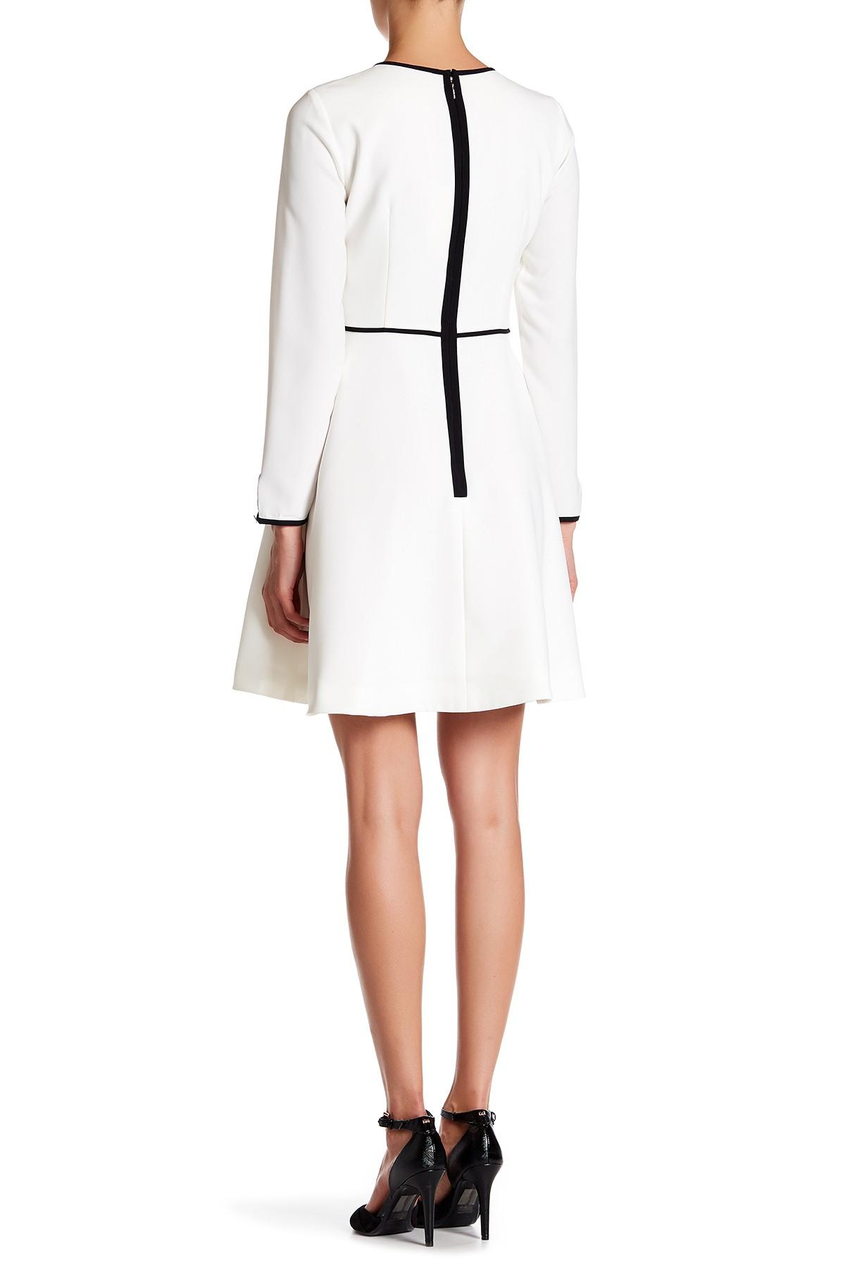 e39816be2b3882 Lyst - Ted Baker Loozy Long Sleeve Bow Tie Dress in White