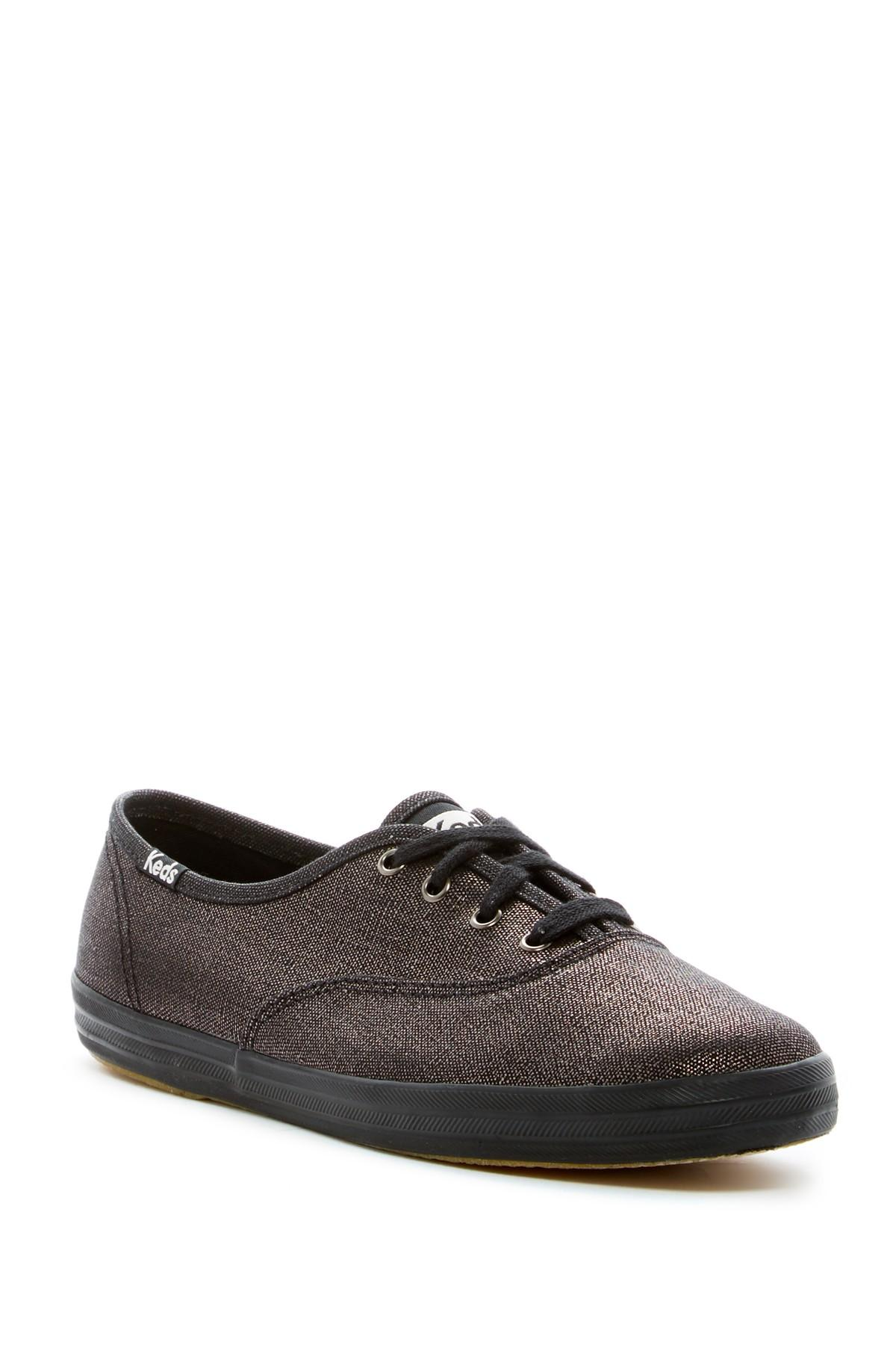 keds chion metallic canvas sneaker in black lyst