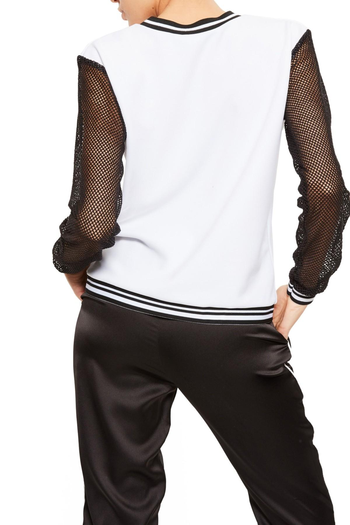 Lyst missguided fishnet sleeve colorblock pullover in black for Fish nets near me