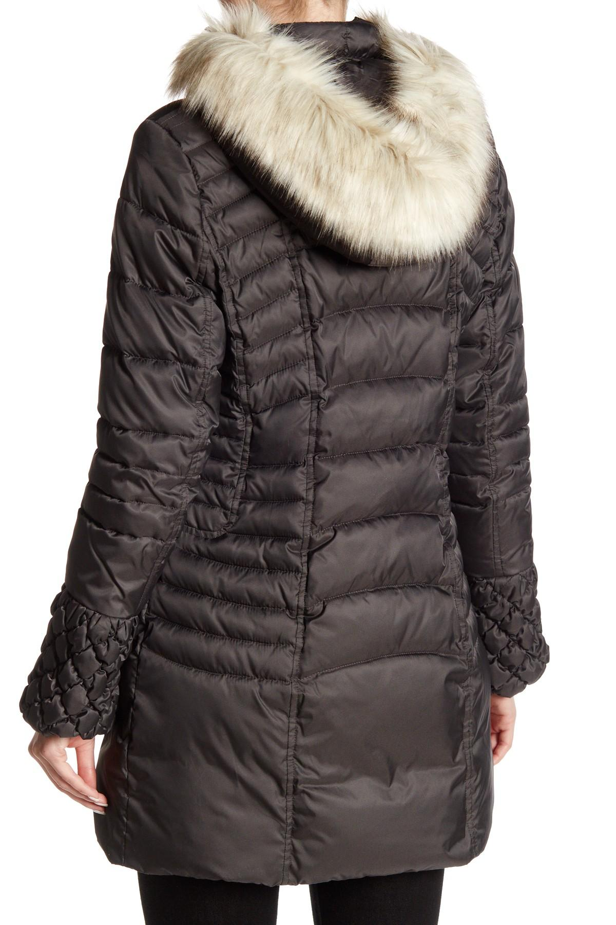 Betsey Johnson Faux Fur Trim Hooded Puffer Jacket In Gray