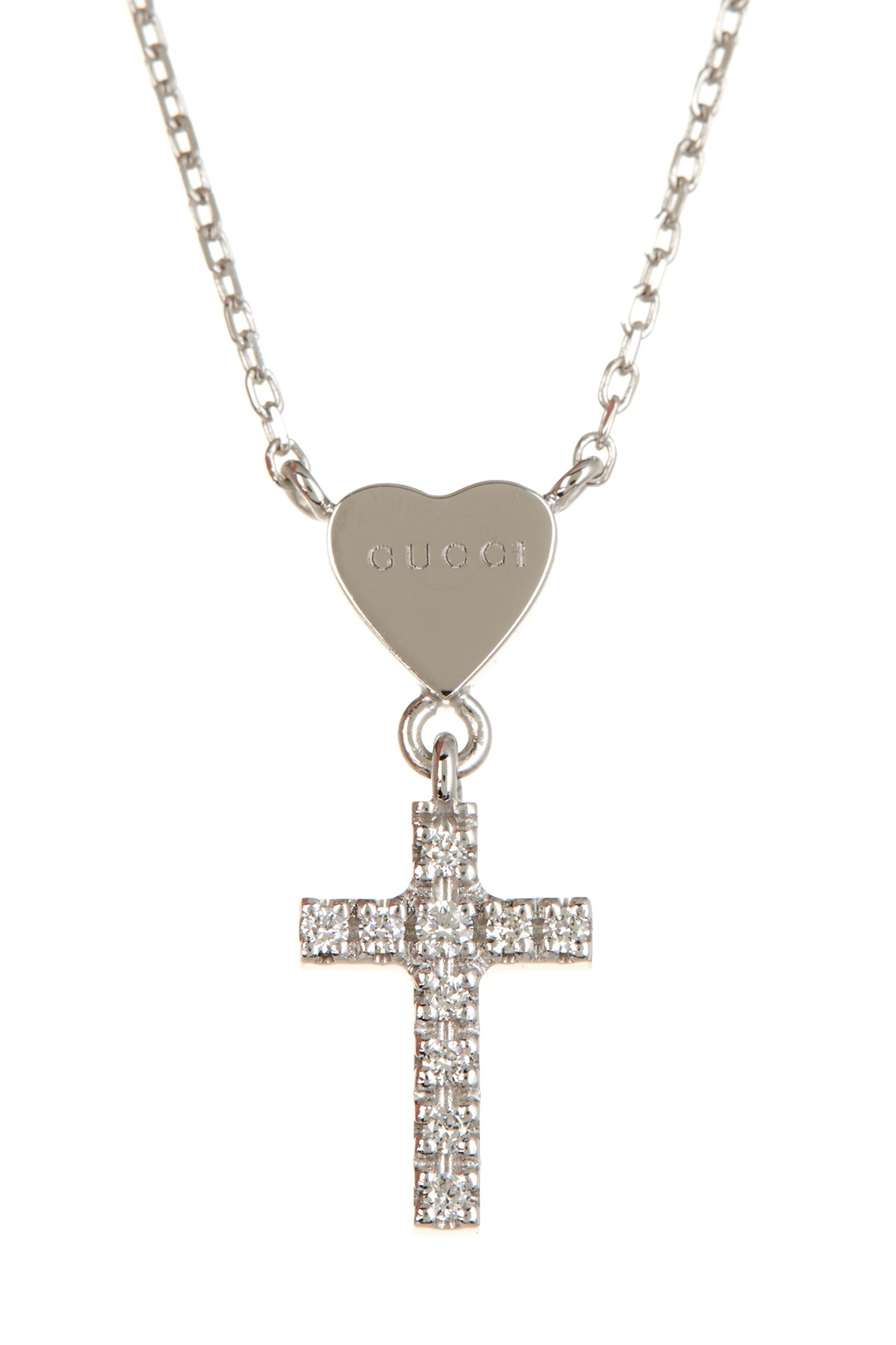 58ed22237 Gucci 18k White Gold Trademark Heart & Diamond Cross Pendant ...