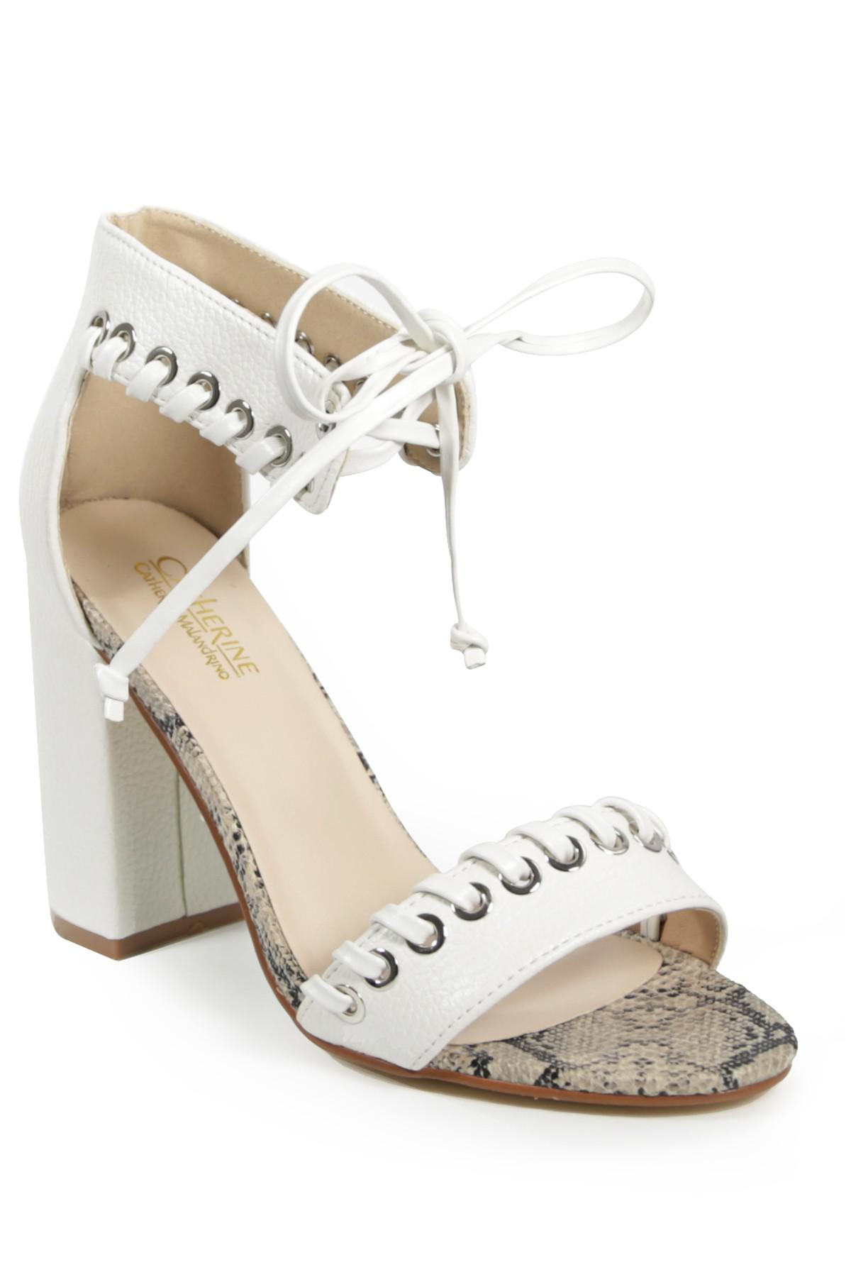 9ded6a779 Catherine Malandrino Strake Lace-up Block Heel Sandal in White - Lyst