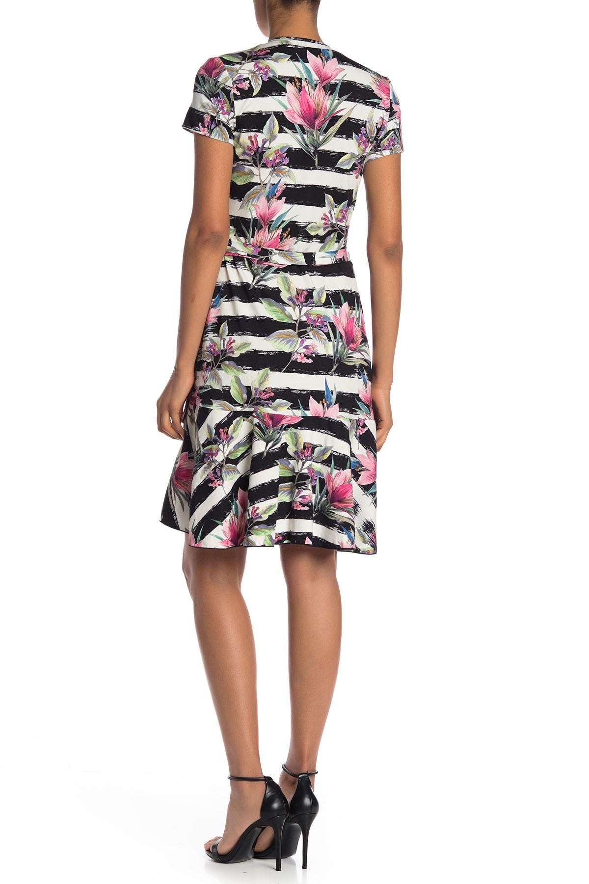 53b8f2bd3ba Nicole Miller Claudette Stripe & Floral Print Wrap Dress in White ...