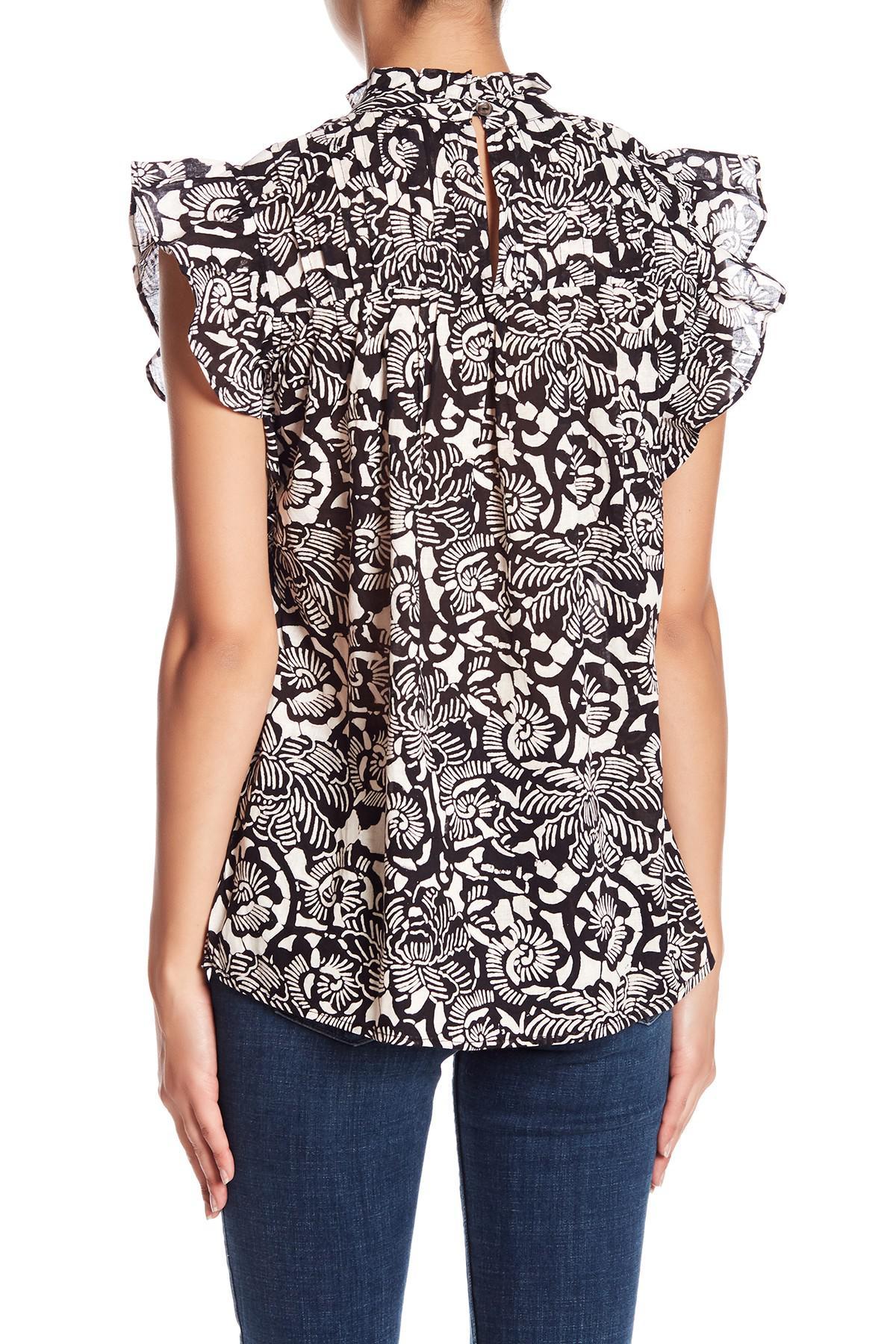 d6fcb9bb271d68 Lyst - Banjanan Printed Ruffle Sleeve Blouse in Black